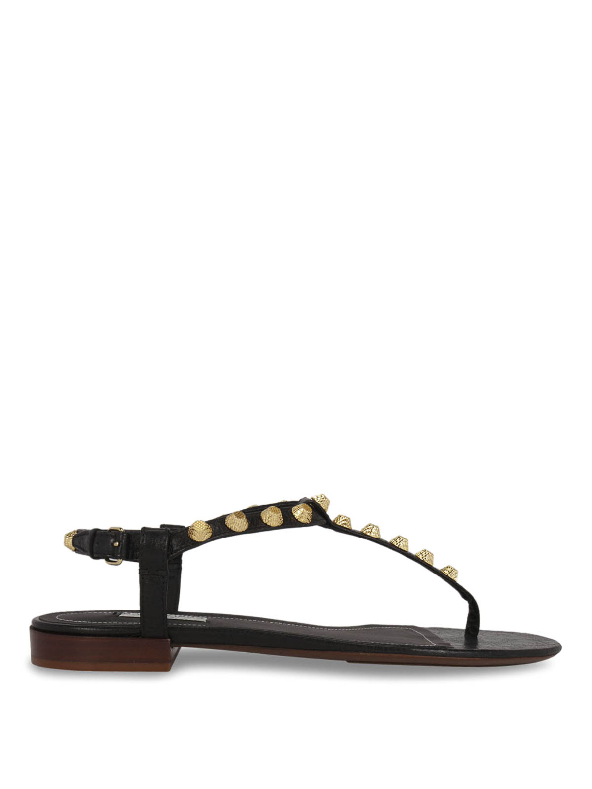 ec02fe17f326 Balenciaga - Giant studs T-strap flat sandals - sandals ...
