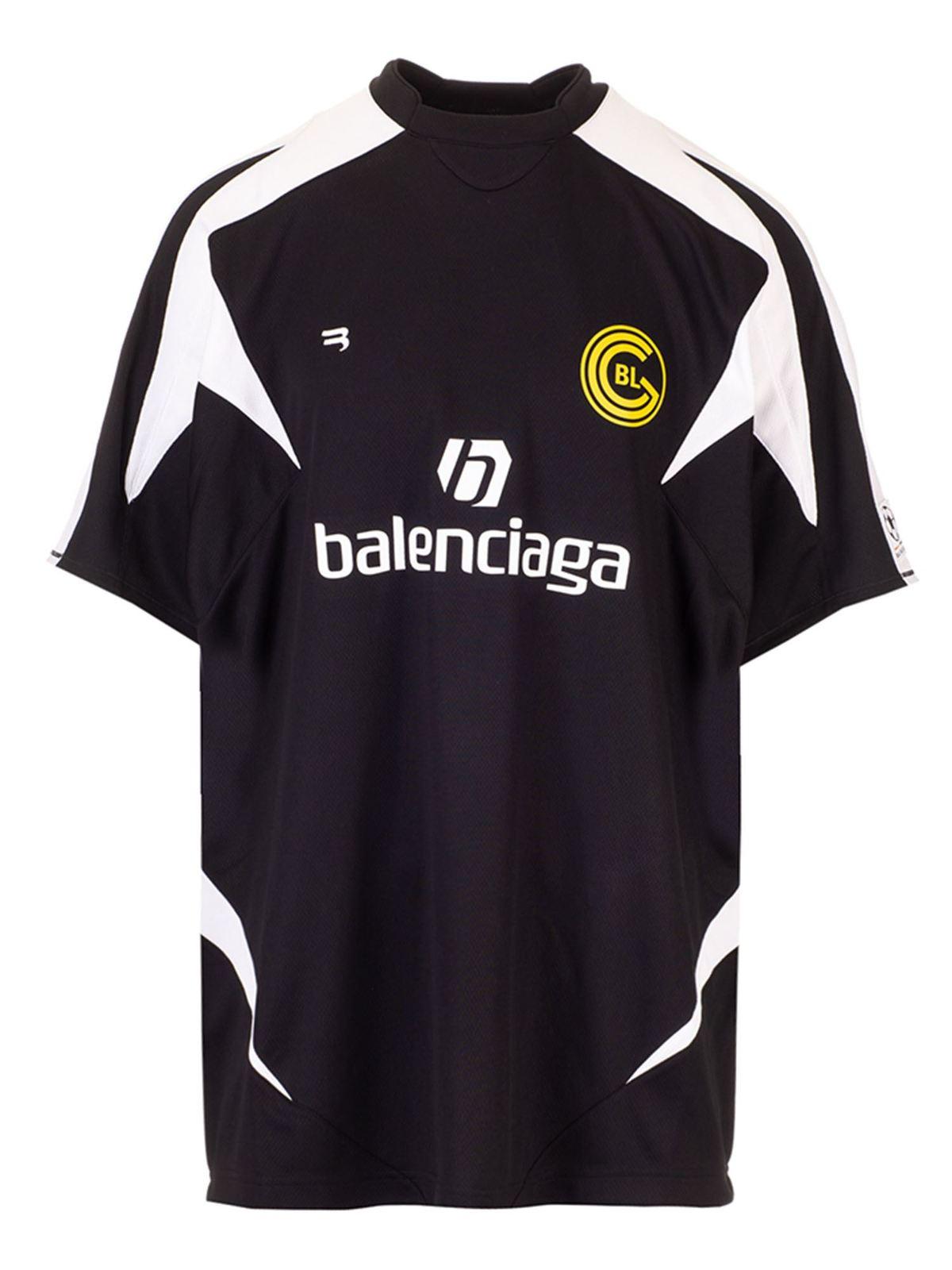 BALENCIAGA SOCCER T-SHIRT IN BLACK