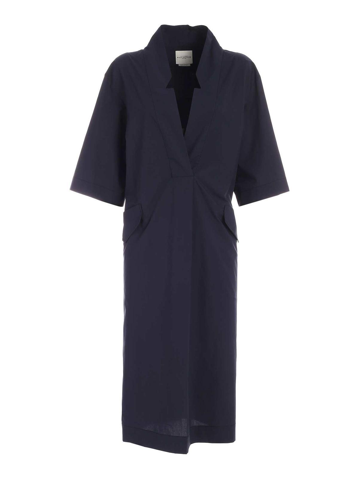 Ballantyne Dresses DEEP V-NECK DRESS IN BLUE