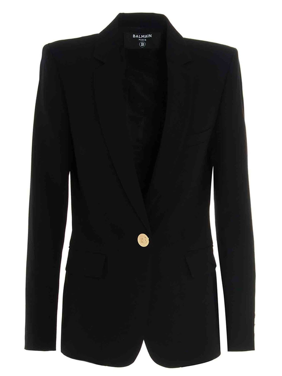BALMAIN JACKET IN BLACK WITH CONTRASTING DETAIL