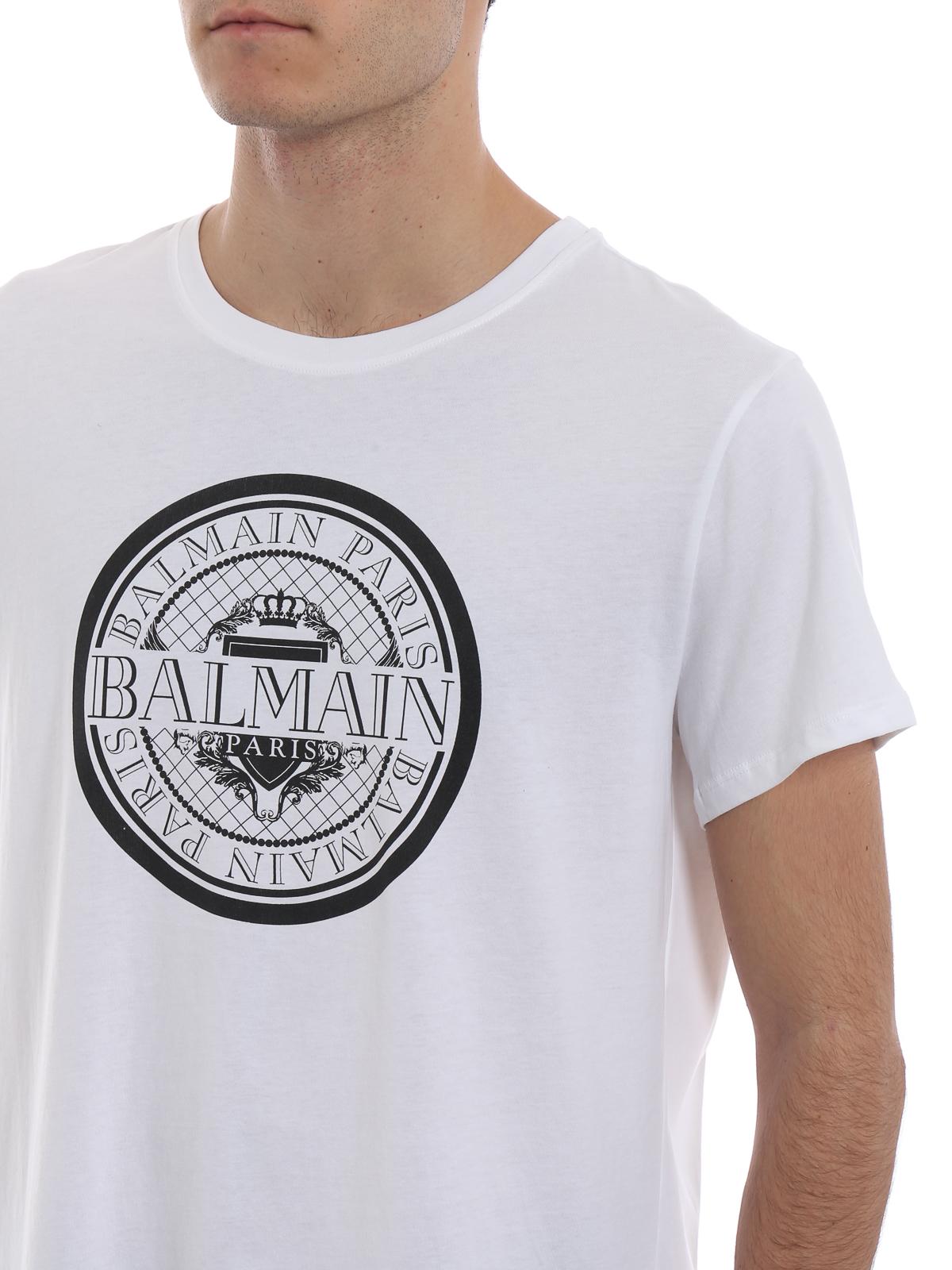 cddf9330 Balmain - Balmain Paris rubberized logo cotton T-shirt - t-shirts ...