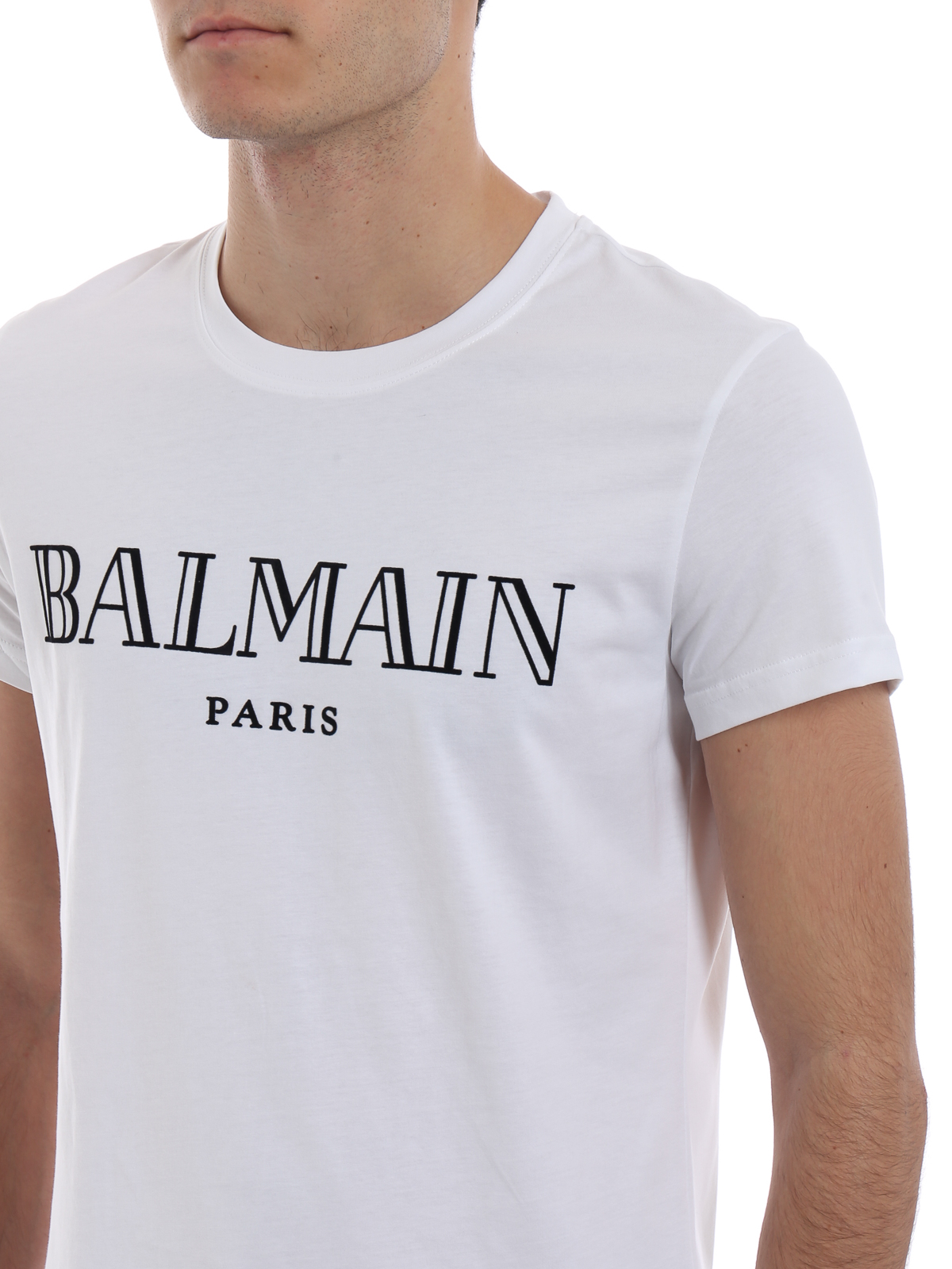 2a5087718 Balmain - Balmain Paris velvet logo cotton T-shirt - t-shirts ...
