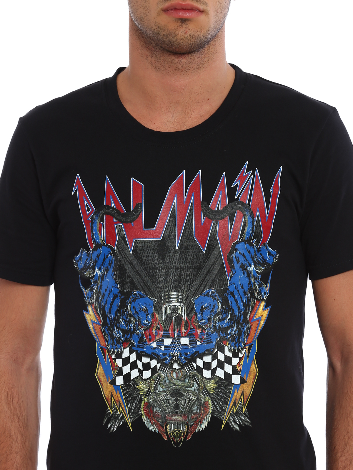Logo And Panthers Print T Shirt By Balmain T Shirts Ikrix
