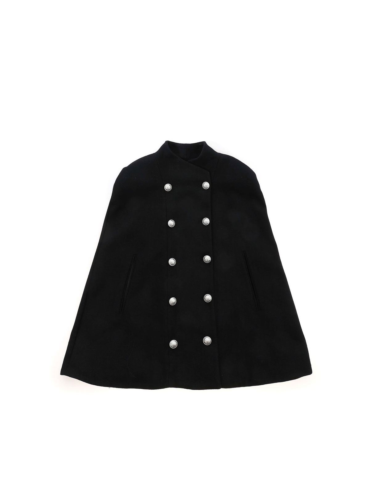 Balmain Linings DOUBLE-BREASTED CAPE IN BLACK
