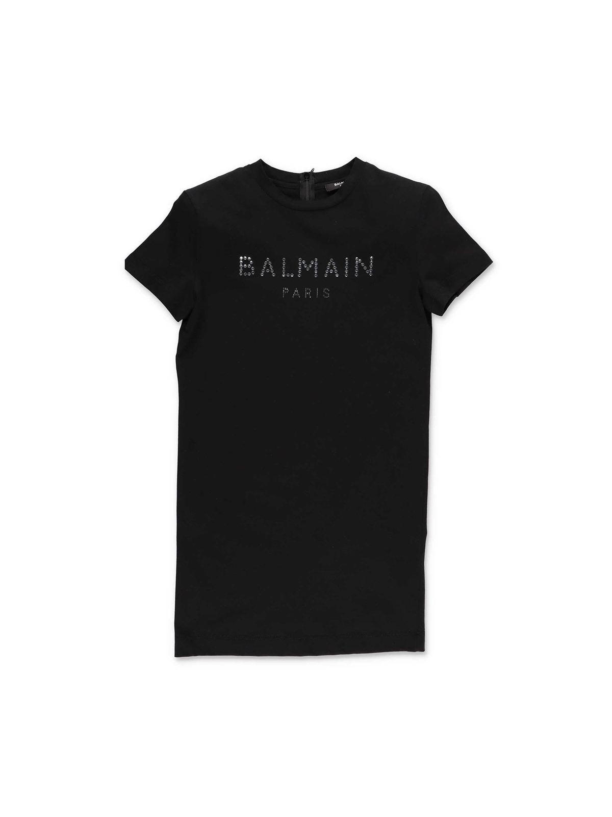 Balmain BLACK DRESS WITH CRYSTAL LOGO