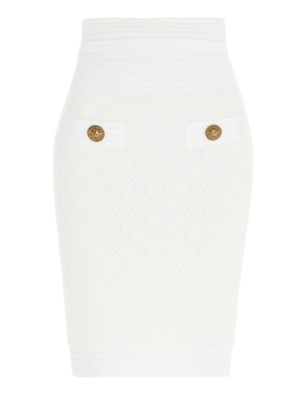 Balmain Skirts GOLDEN BUTTONS PENCIL SKIRT IN WHITE