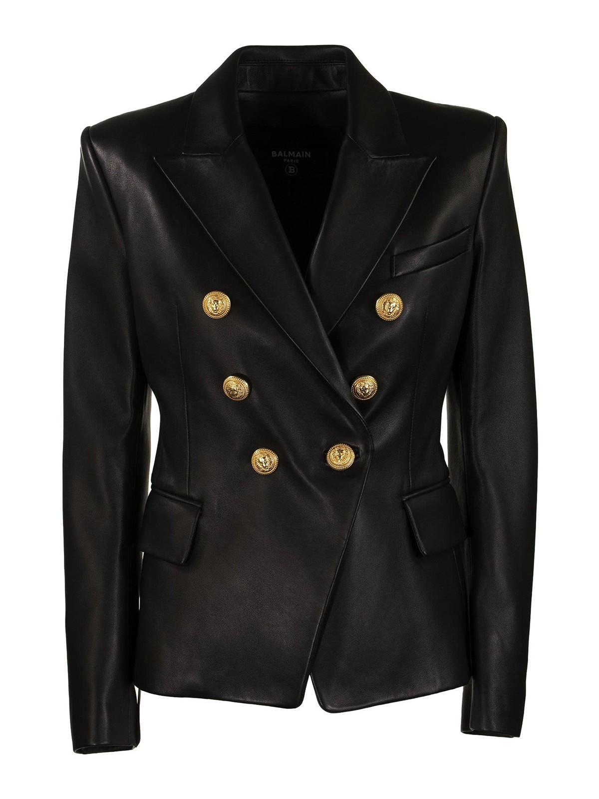 Balmain Leathers LEATHER DOUBLE-BREASTED BLAZER
