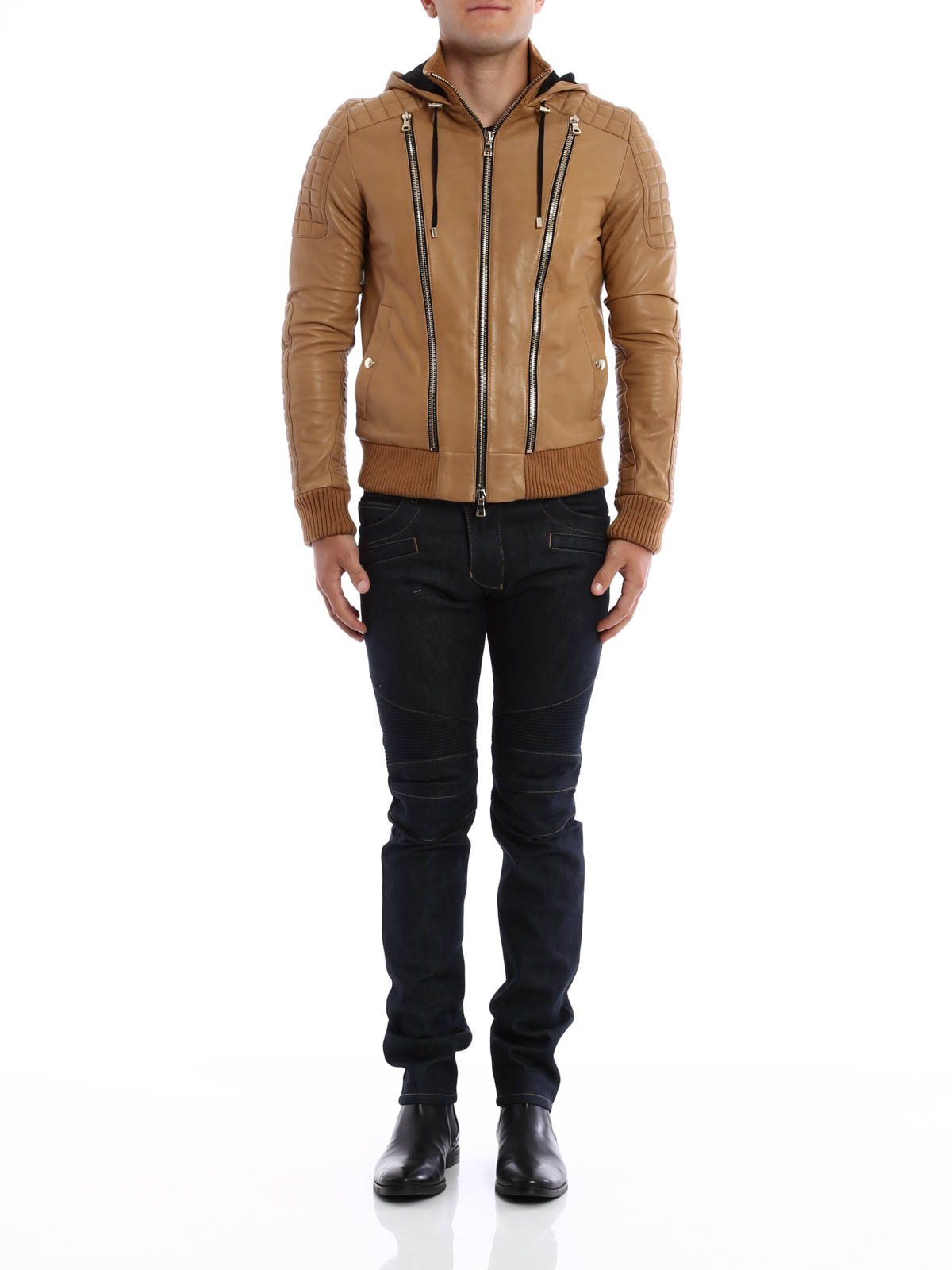 Soft leather bomber jacket