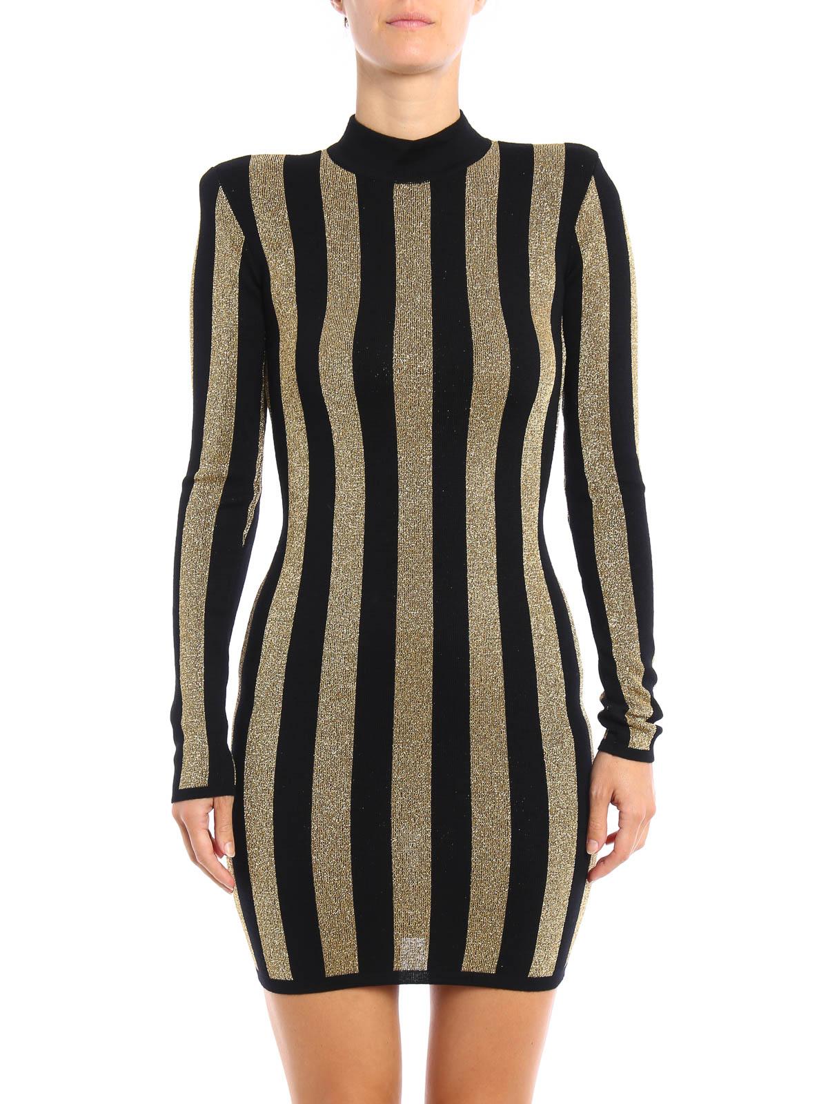 7ac66dd8 Balmain - Lurex striped pattern mini dress - cocktail dresses - 6100 ...