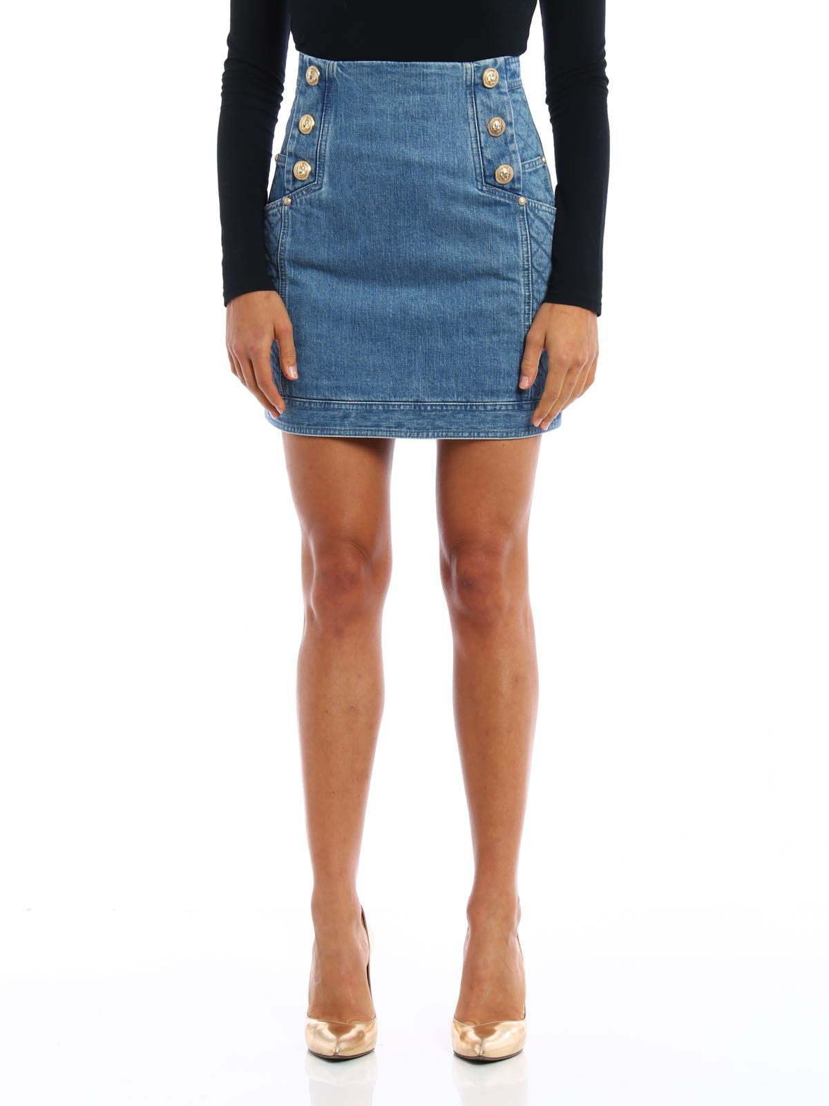 de79f82f28 Balmain - Button detailed denim mini skirt - mini skirts - 4265 101K ...