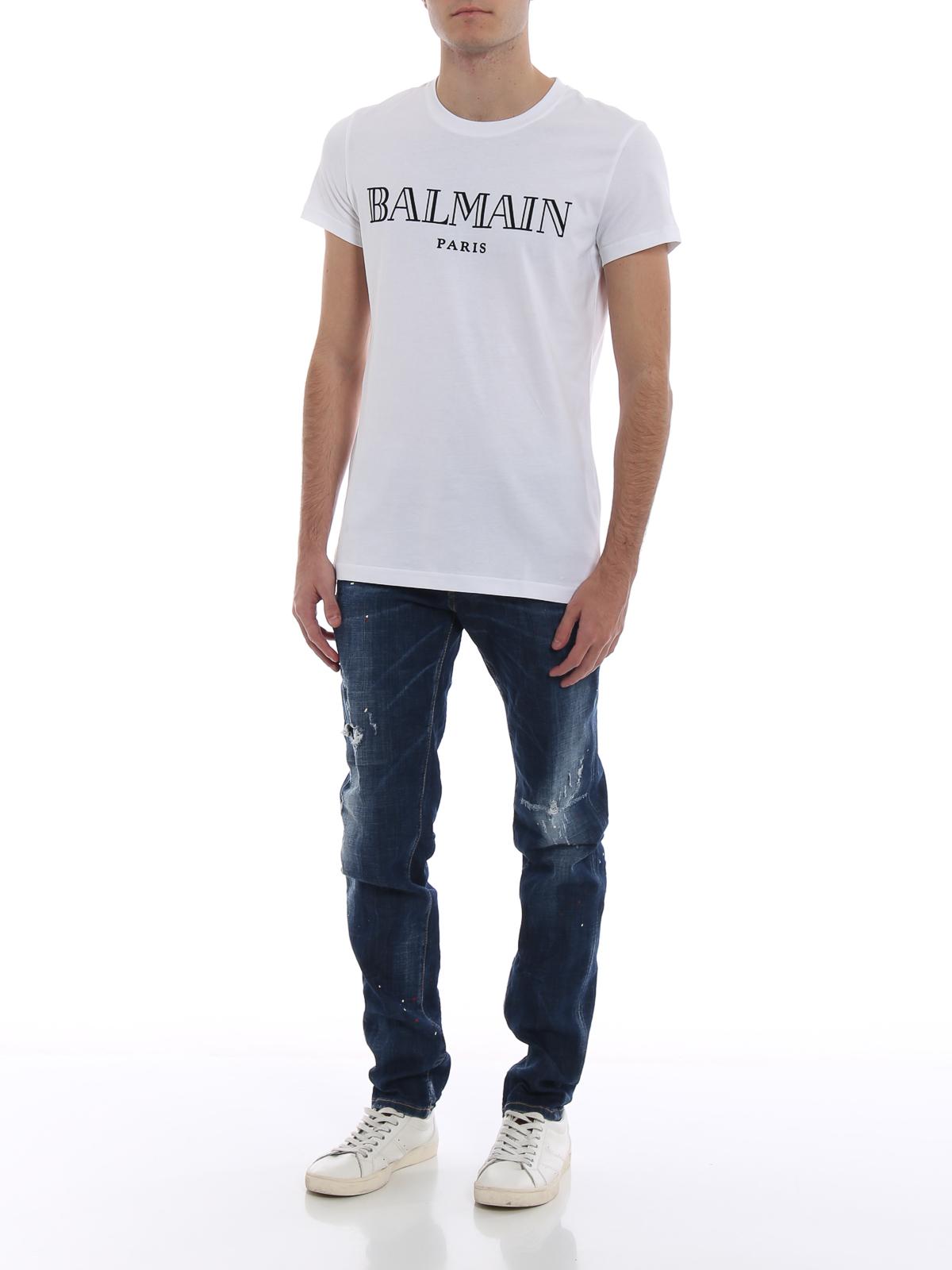 a6fec5e3c Balmain: t-shirts online - Balmain Paris velvet logo cotton T-shirt