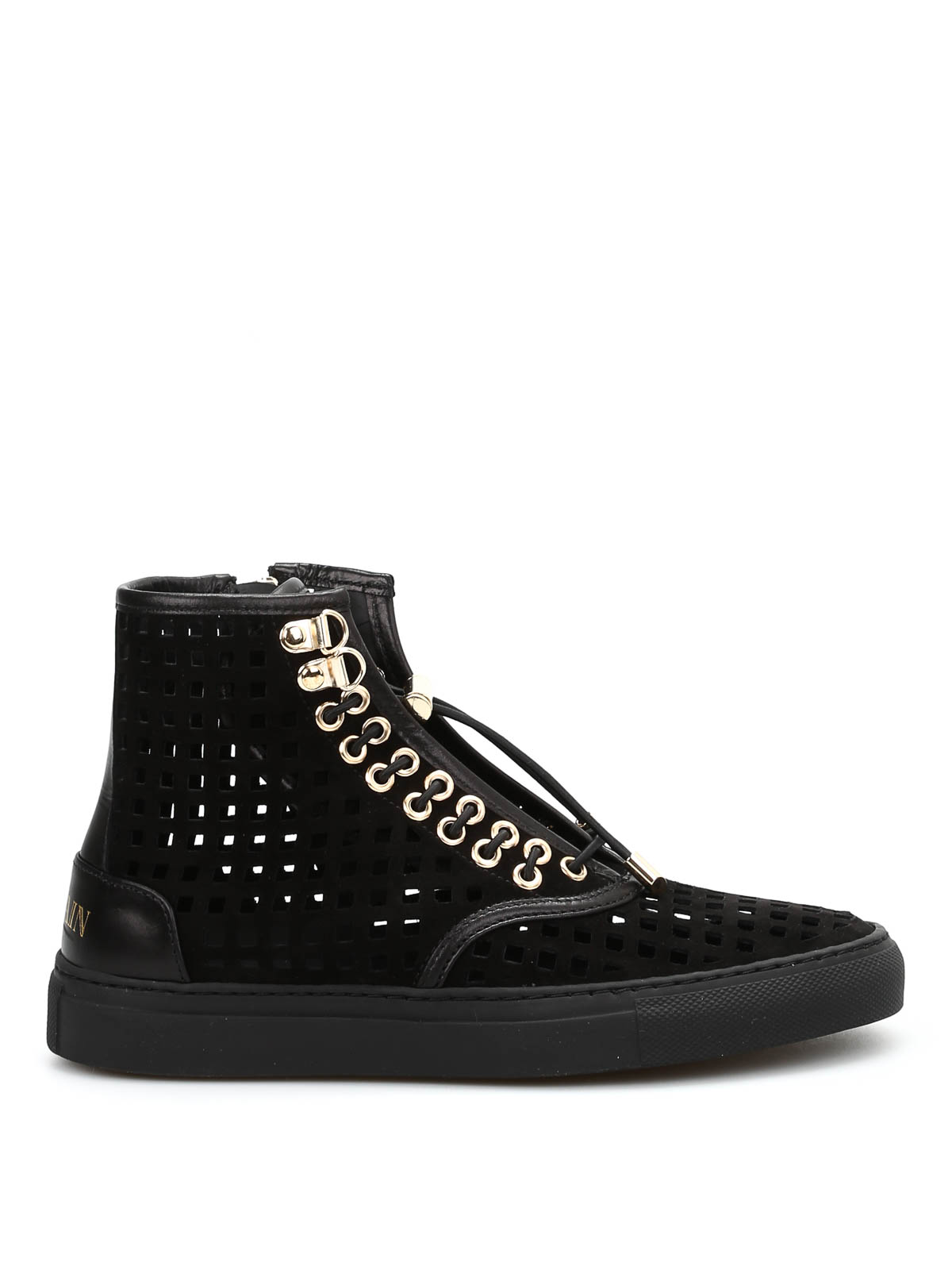 a66d3f5858 Balmain - High-top openwork suede sneakers - trainers - S6CBL010204P176