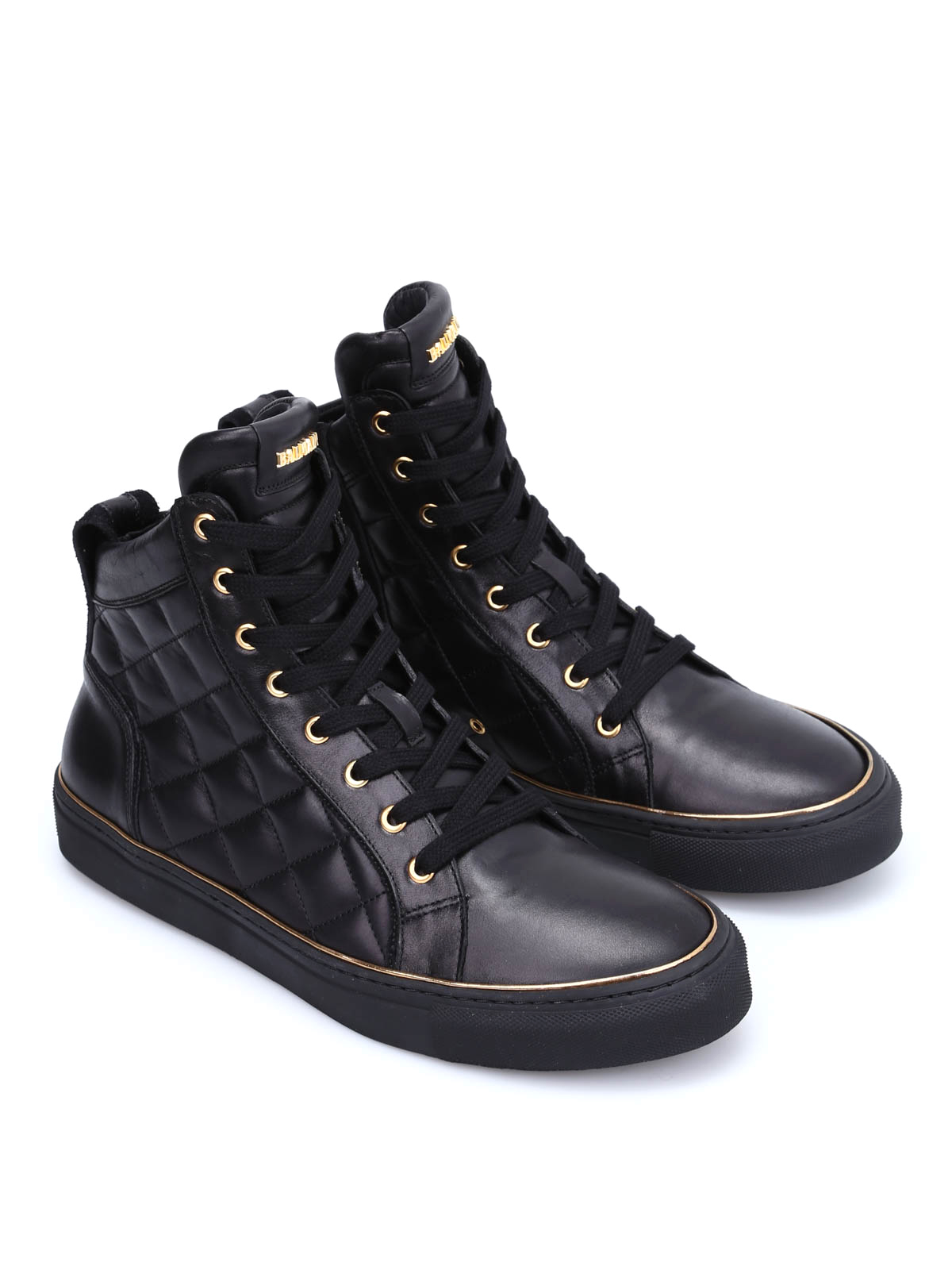 Balmain Quilted Leather High Top Sneakers Trainers