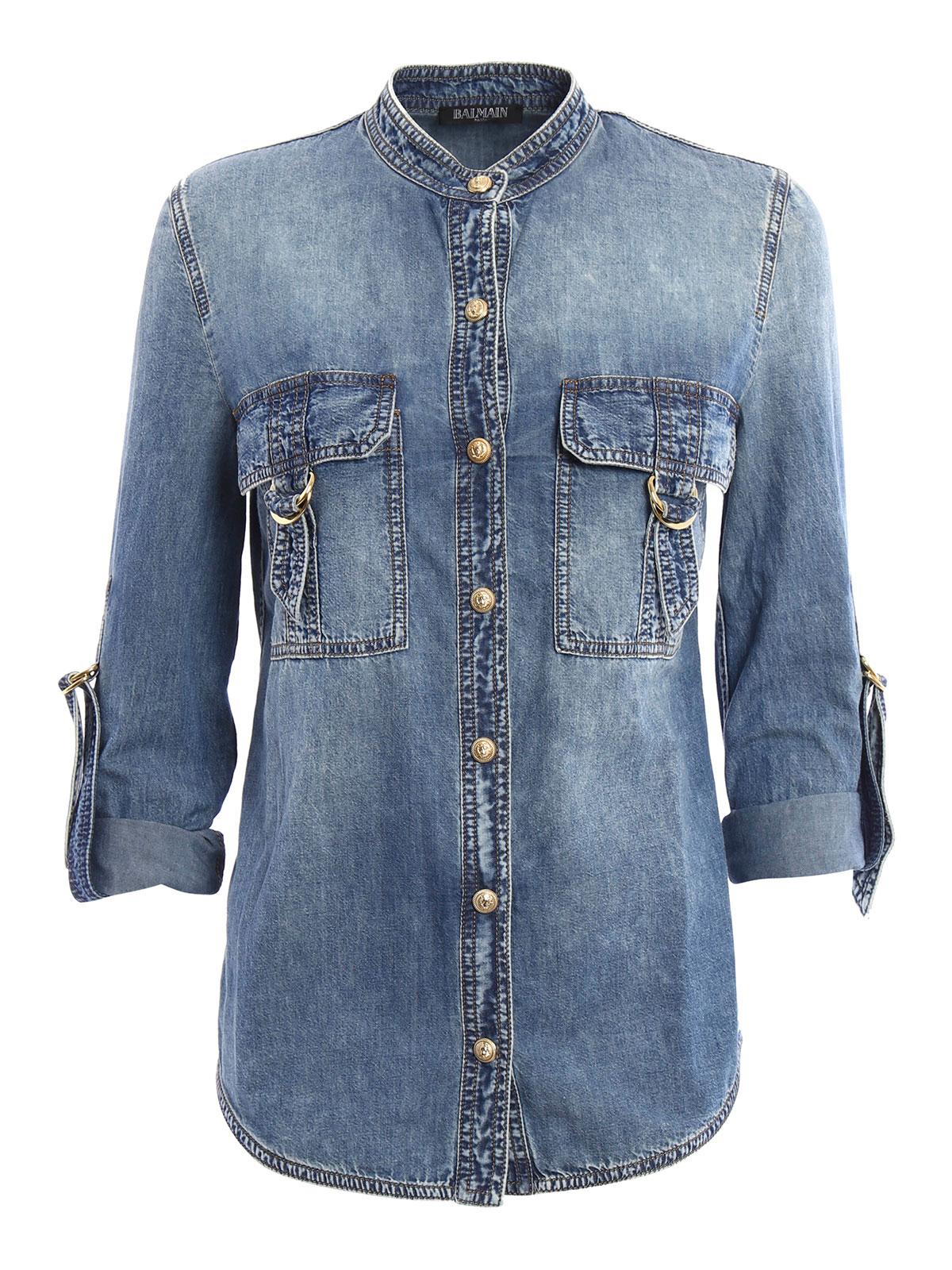 Safari Shirt Cognac Heels: Cotton Denim Safari Shirt