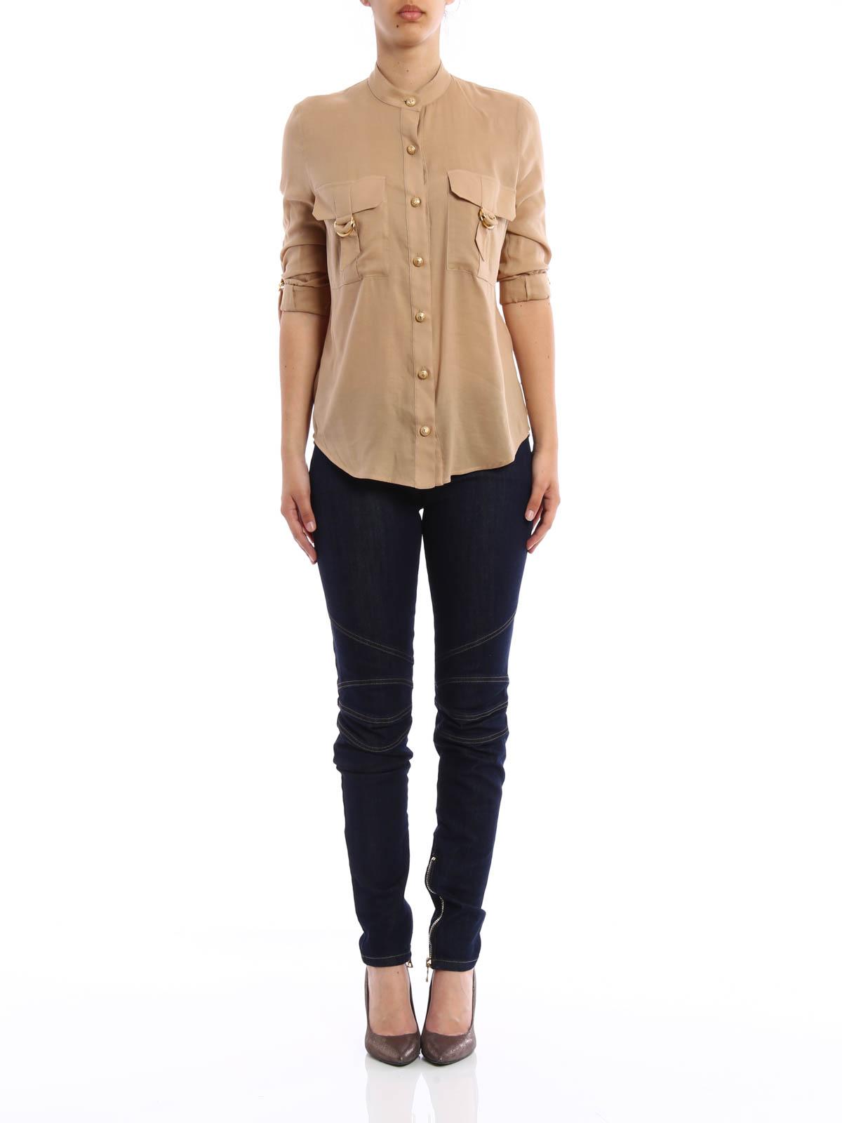 Safari Shirt Cognac Heels: Cotton Blend Safari Shirt By Balmain - Shirts