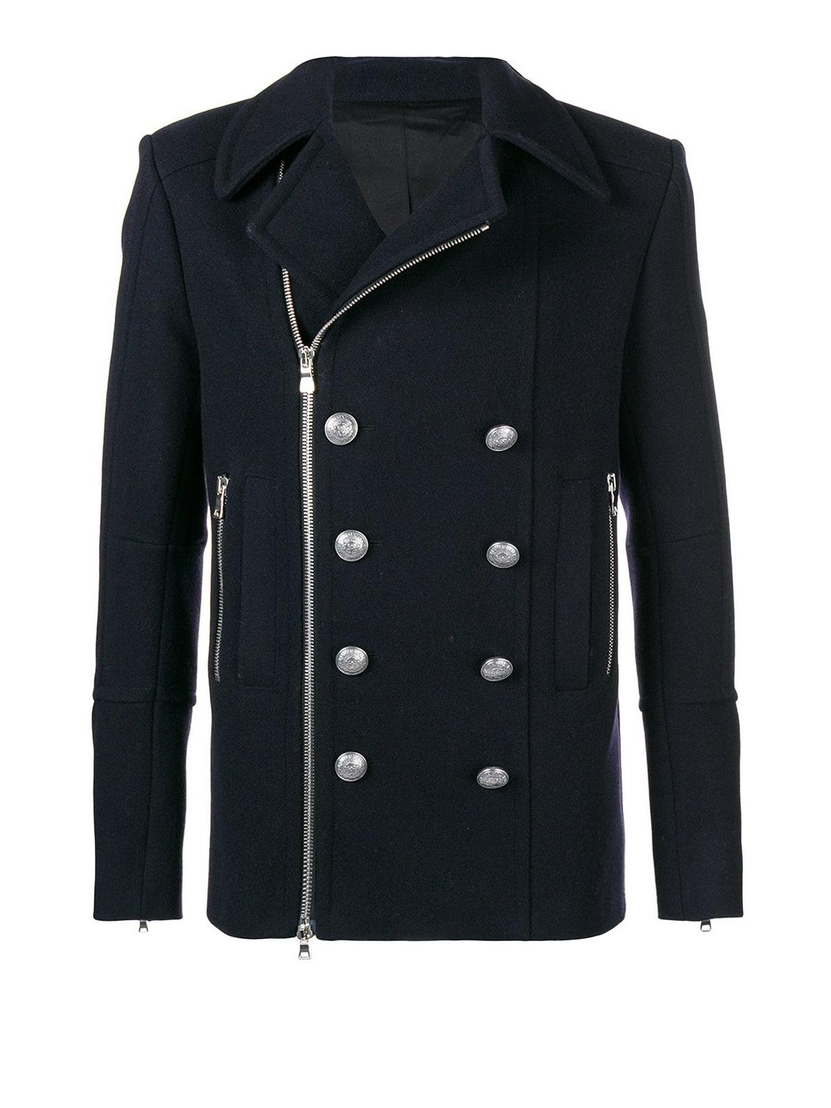 Balmain Cappotto doppio petto con bottoni cappotti corti