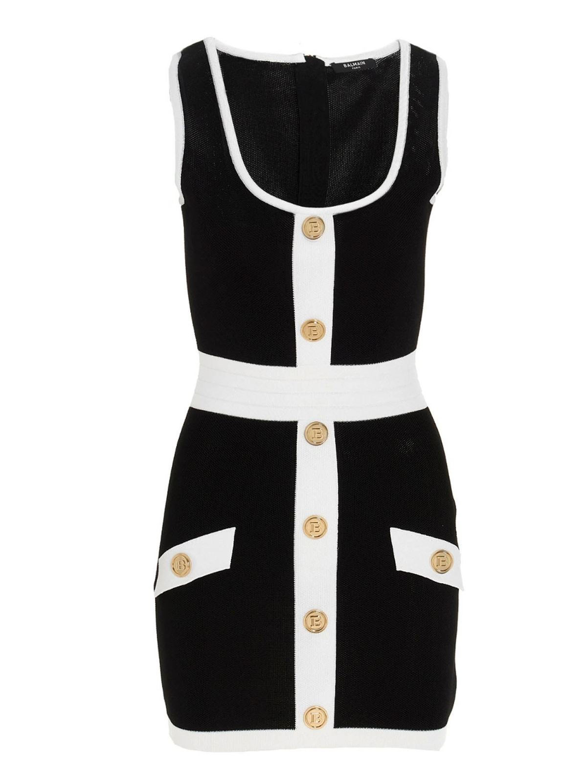 Balmain Dresses BUTTONED DRESS IN BLACK AND WHITE