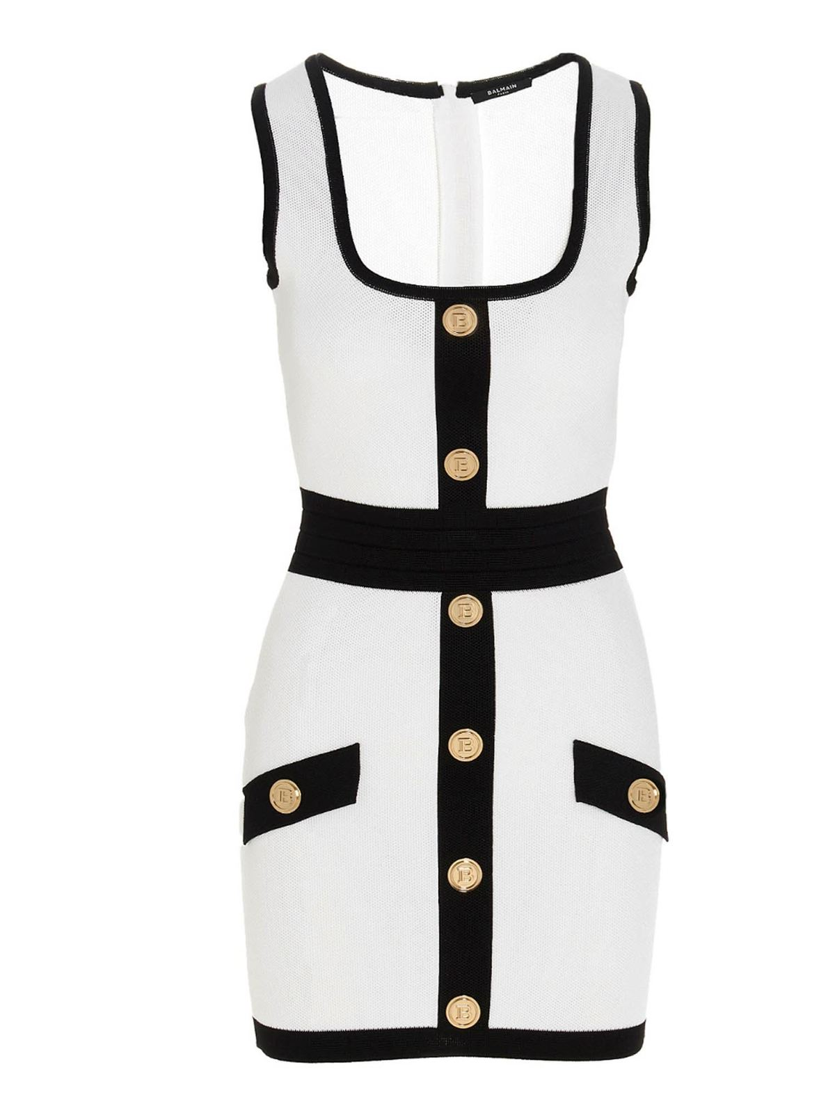 Balmain BUTTONED DRESS IN WHITE AND BLACK