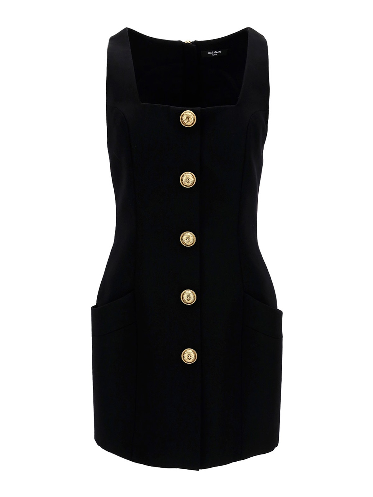 Balmain Wools BUTTONED WOOL MINIDRESS