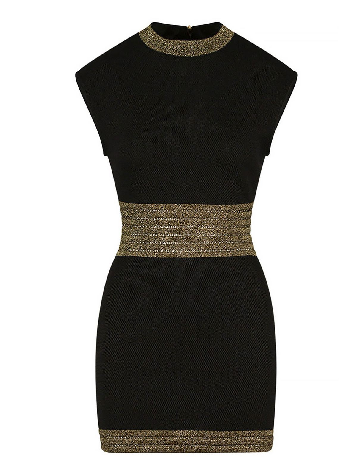 BALMAIN LAME DETAILS SHORT DRESS IN BLACK