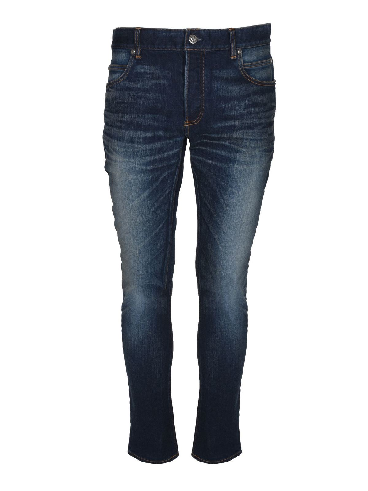 Balmain Cottons SKINNY JEANS IN BLUE
