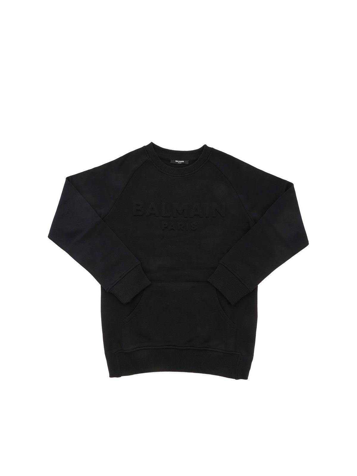 Balmain Cottons 3D LOGO SWEATSHIRT IN BLACK