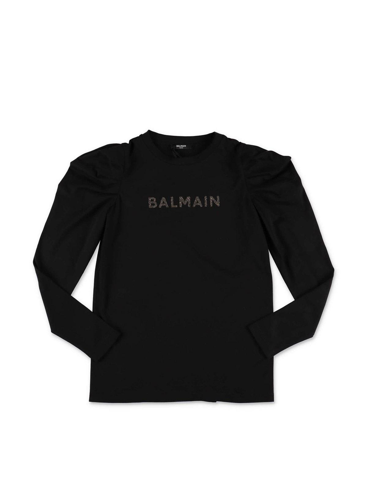 Balmain Cottons BLACK T-SHIRT WITH CRYSTAL PRINT