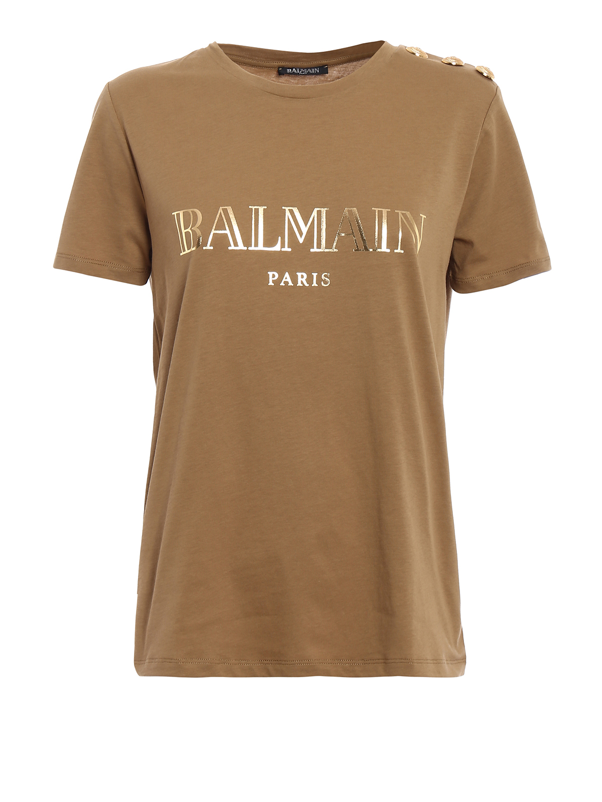 Button And Logo Print T Shirt By Balmain T Shirts Ikrix