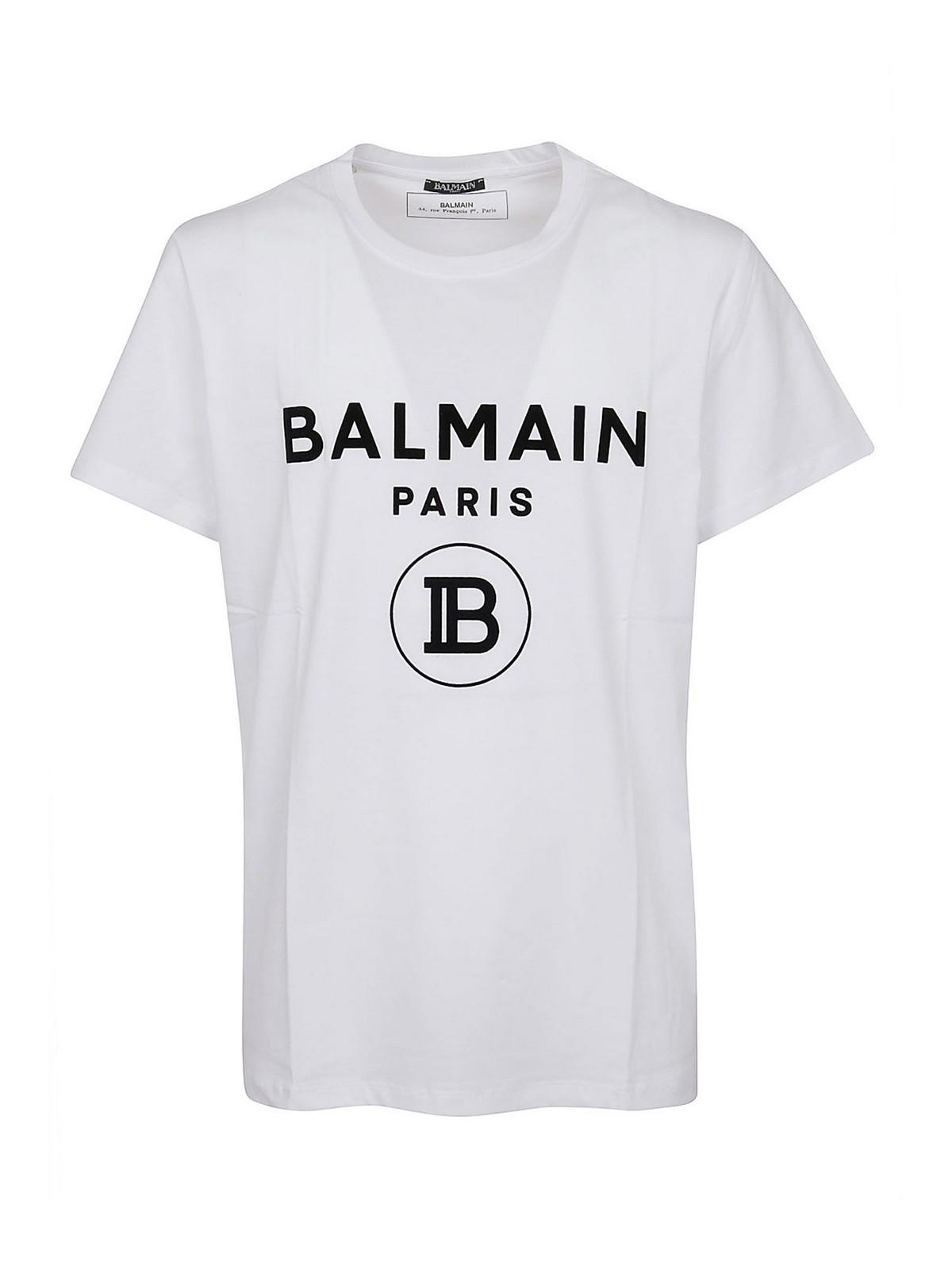 Balmain Cottons FLOCK LOGO COTTON T-SHIRT