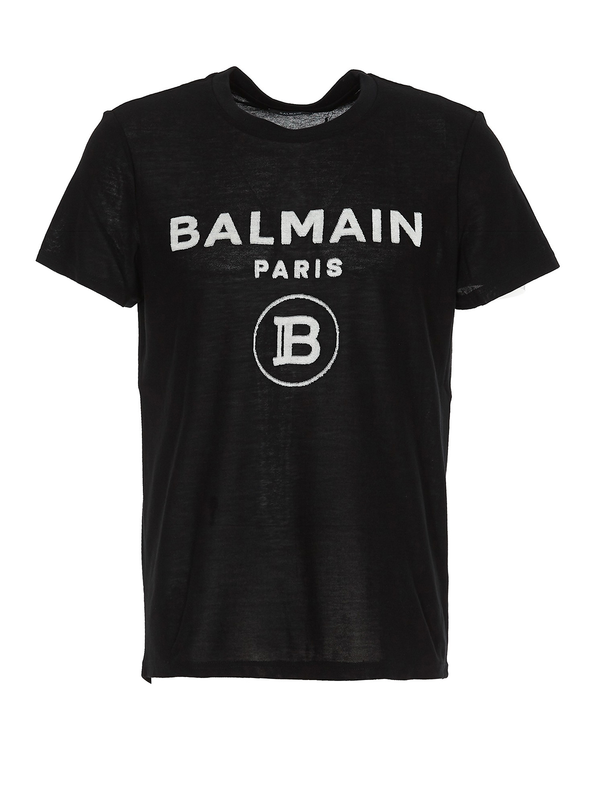 Balmain Cottons FLOCKED LOGO T-SHIRT
