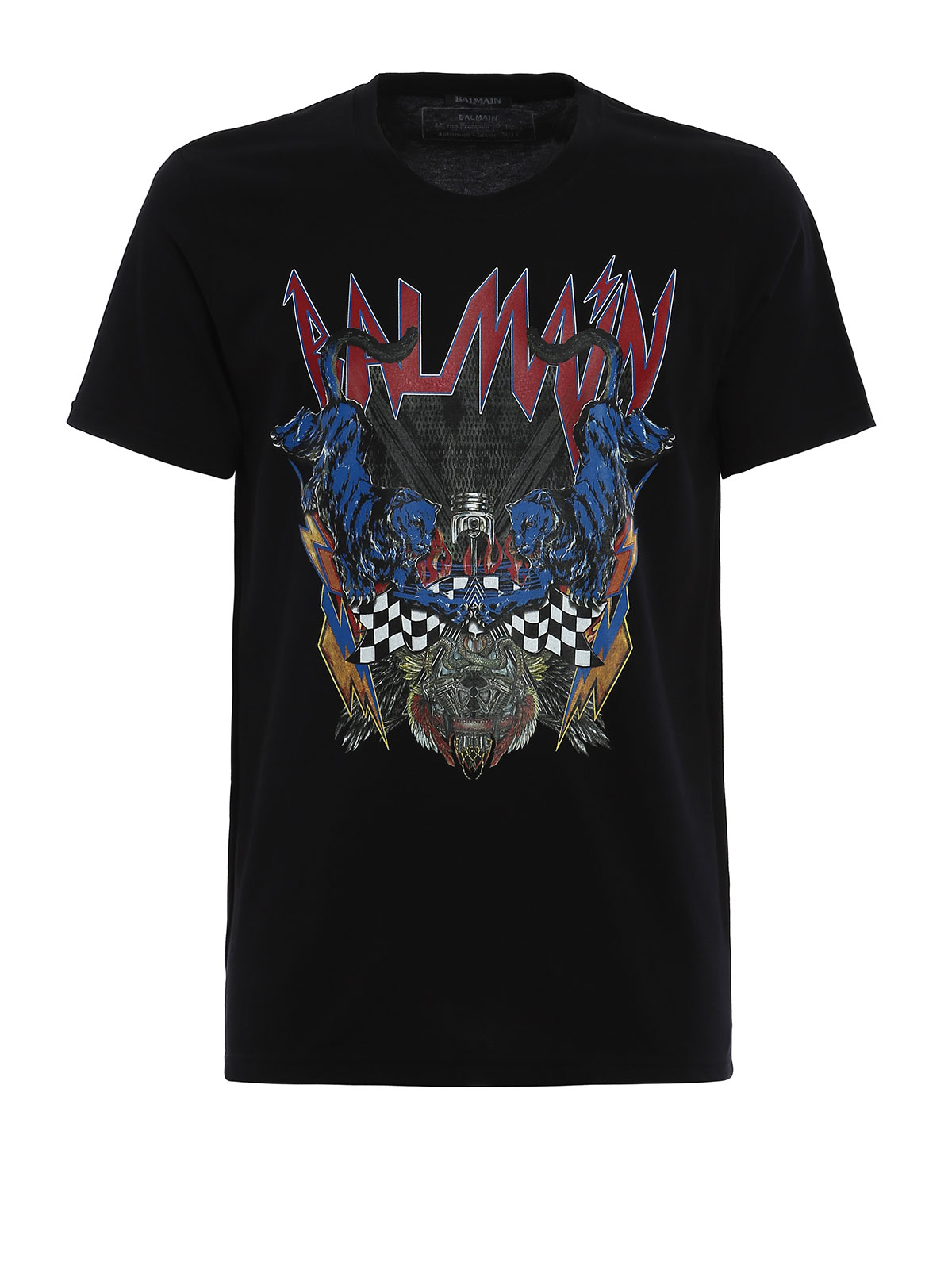 Logo and panthers print t shirt by balmain t shirts ikrix for Tee shirt logo printing