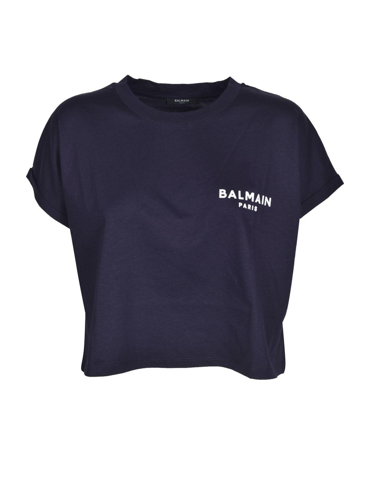 Balmain LOGO CROPPED T-SHIRT IN BLUE