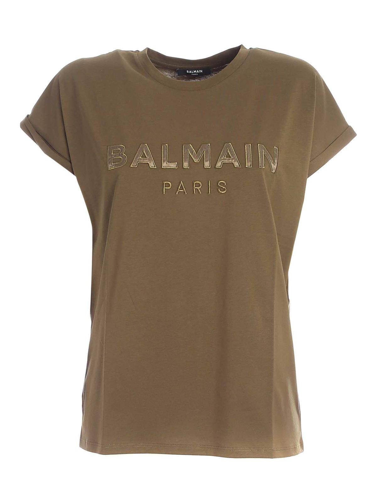 BALMAIN LOGO PATCH T-SHIRT IN GREEN