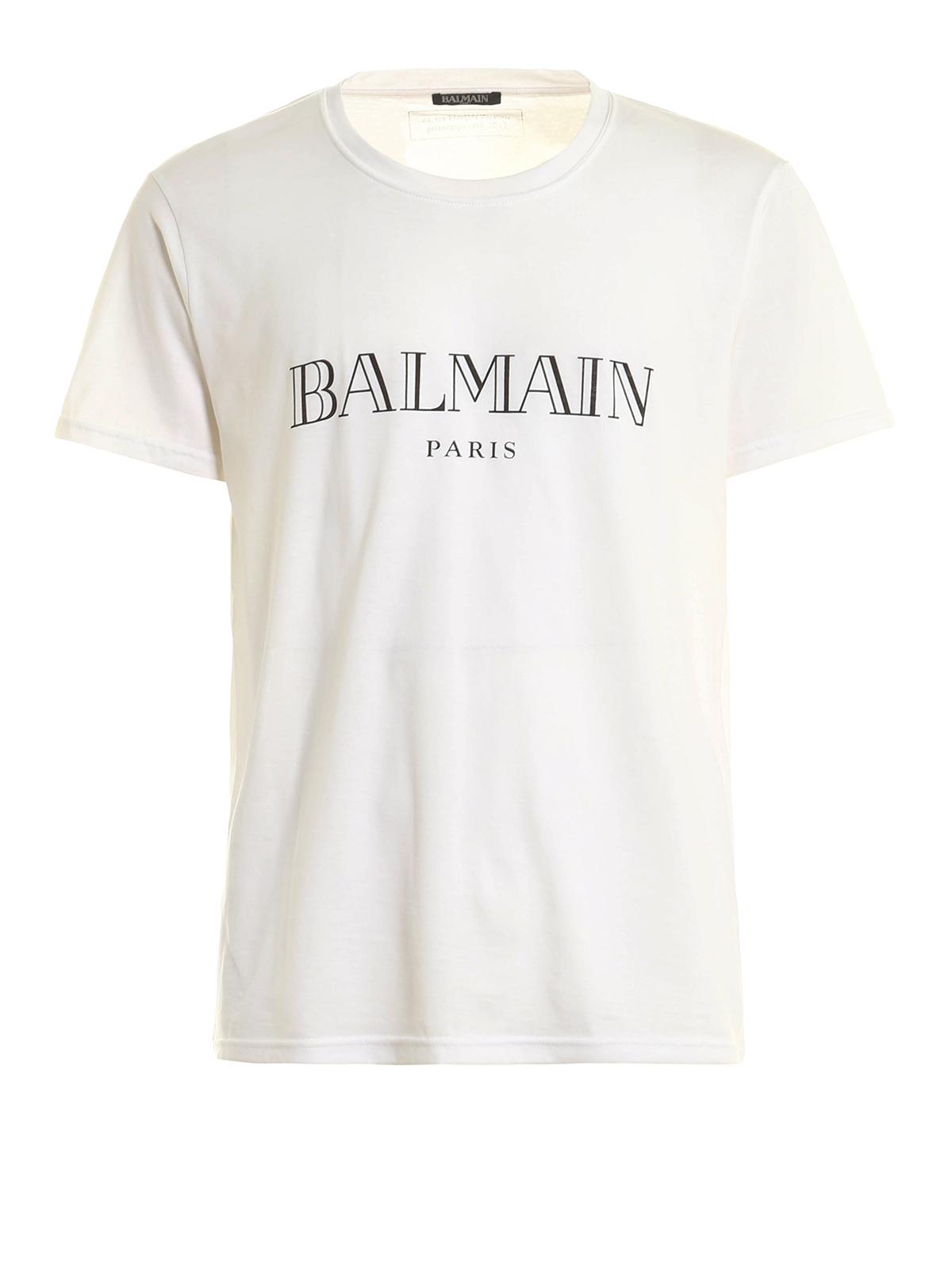 Logo print jersey t shirt by balmain t shirts ikrix for Balmain white logo t shirt