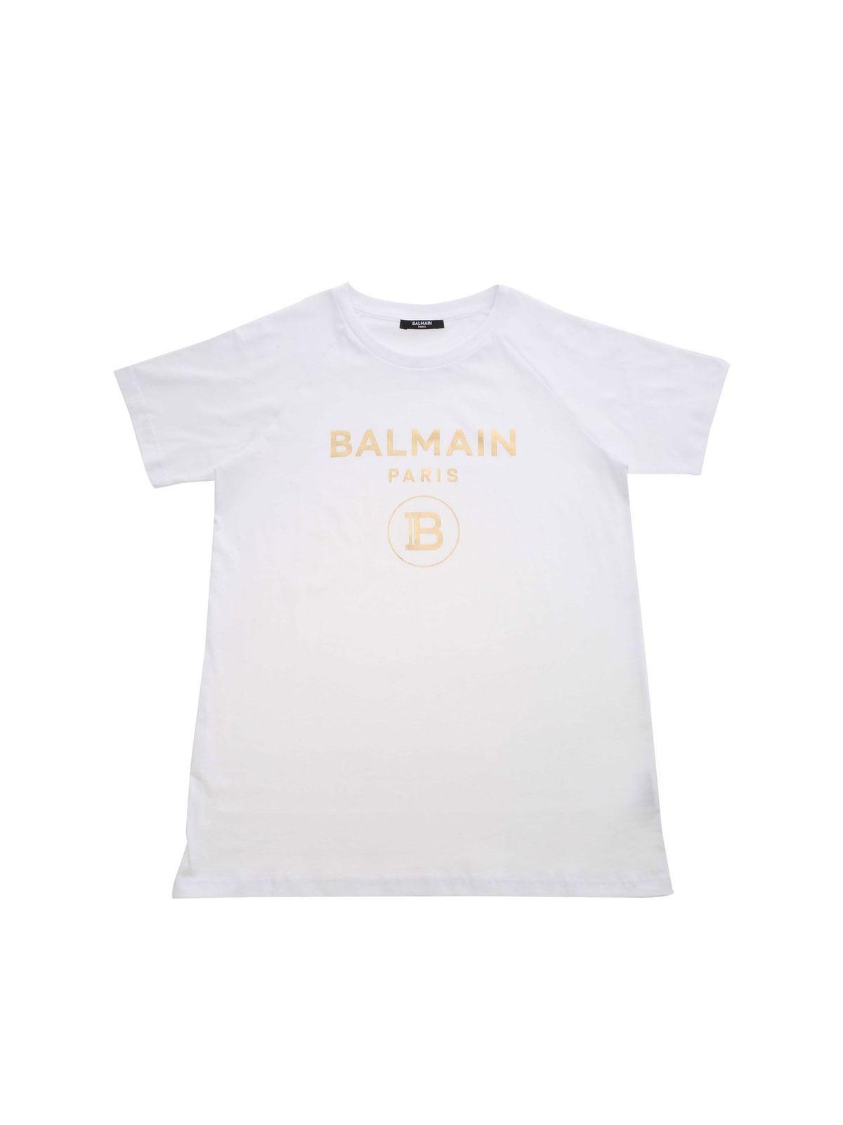 Balmain Cottons LOGO PRINT T-SHIRT IN WHITE