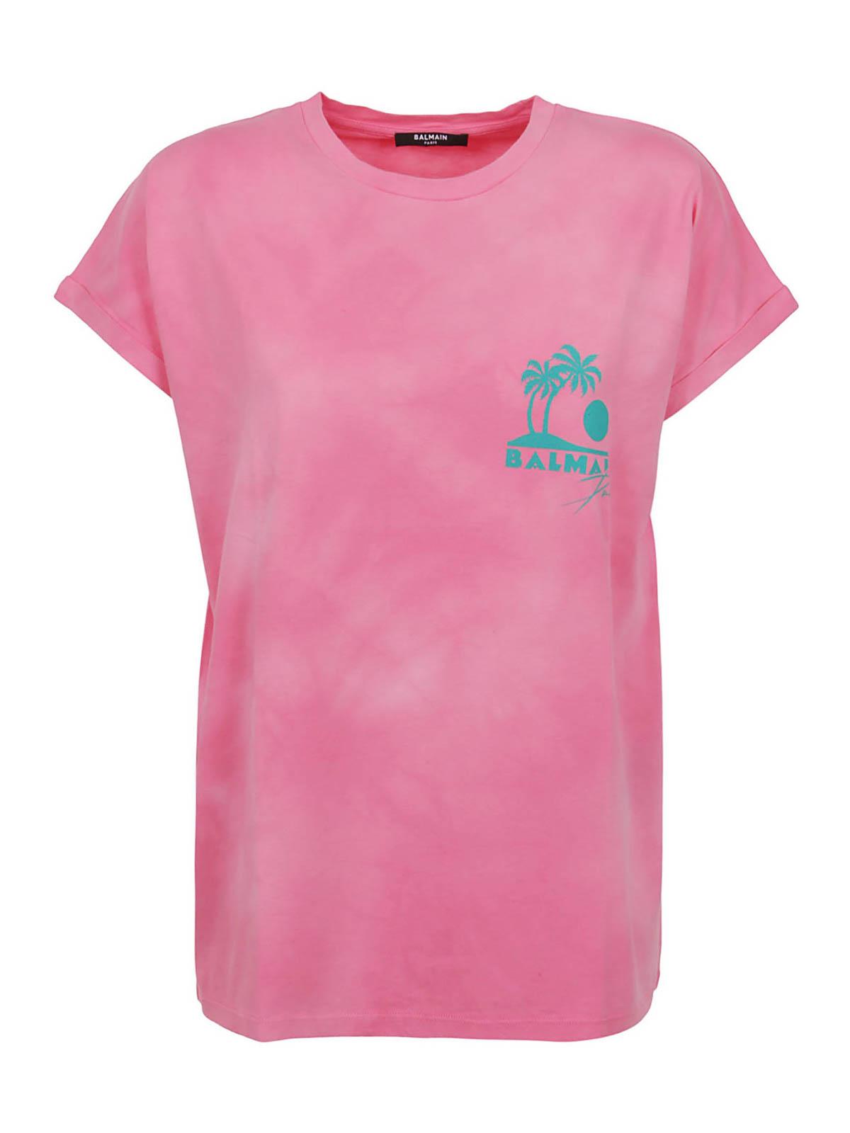 Balmain T-shirts TIE-DYE PALM TREE LOGO T-SHIRT