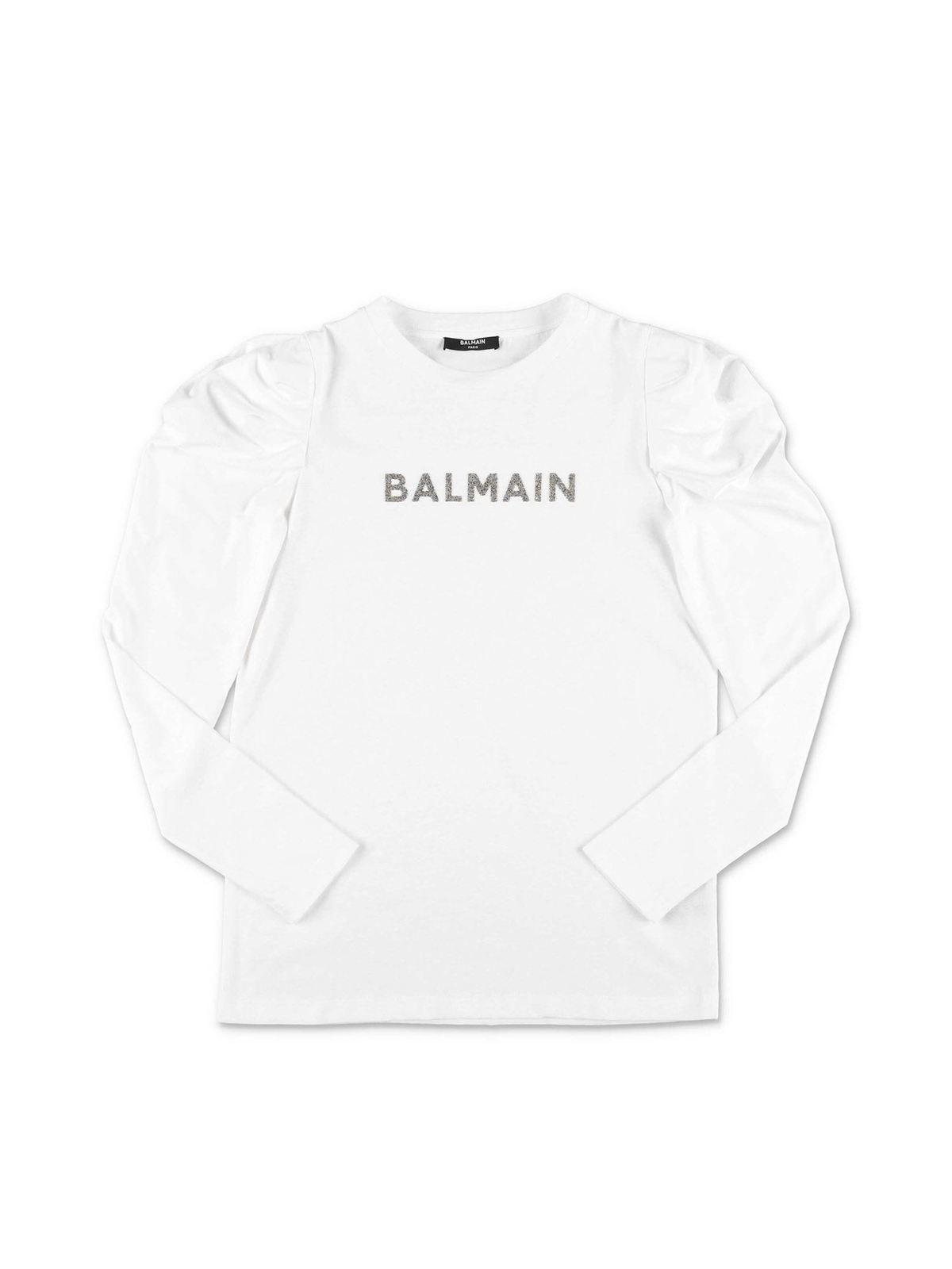 BALMAIN WHITE T-SHIRT WITH CRYSTAL PRINT