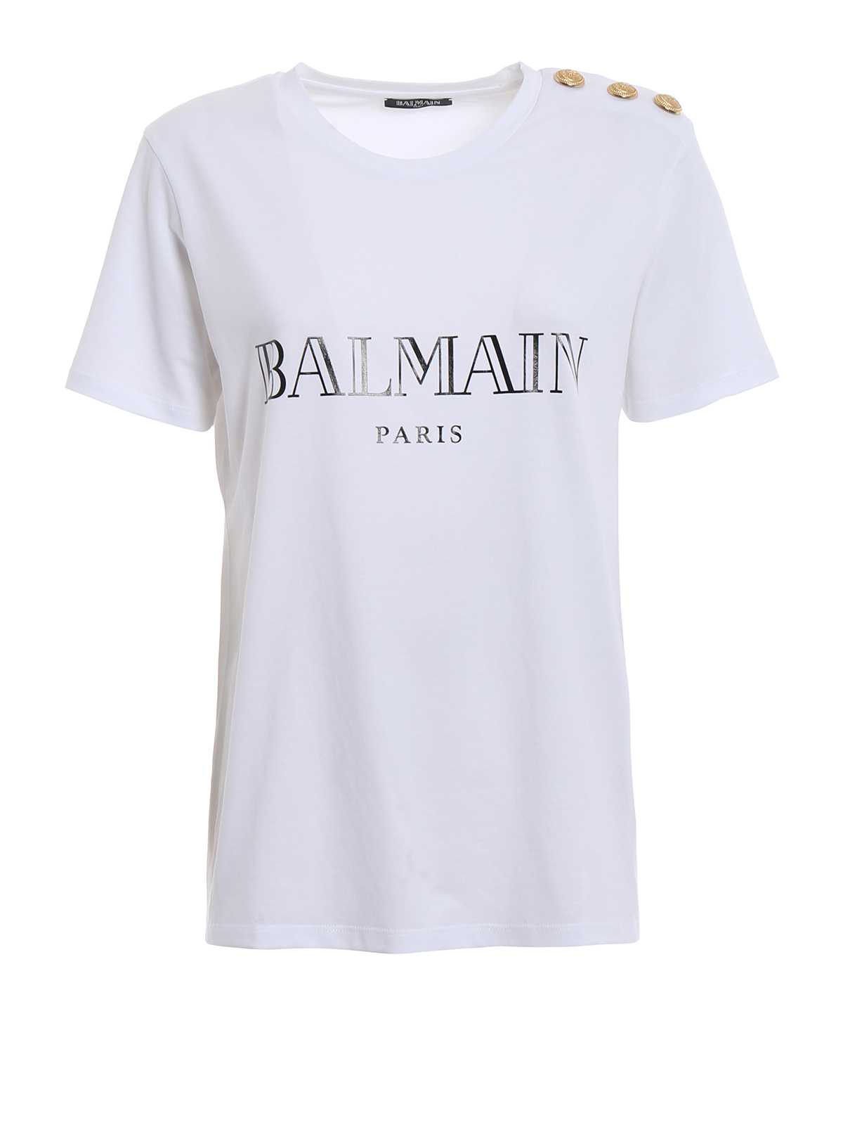 White t shirt with golden buttons by balmain t shirts for Balmain white logo t shirt
