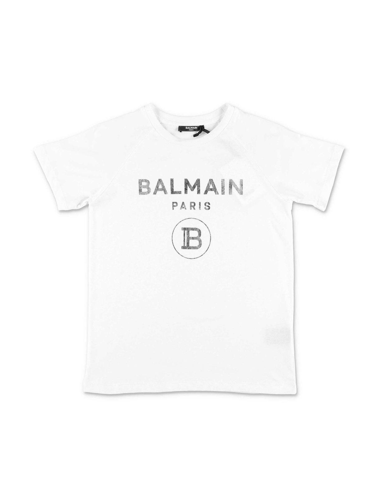 Balmain WHITE T-SHIRT WITH SILVER PRINT