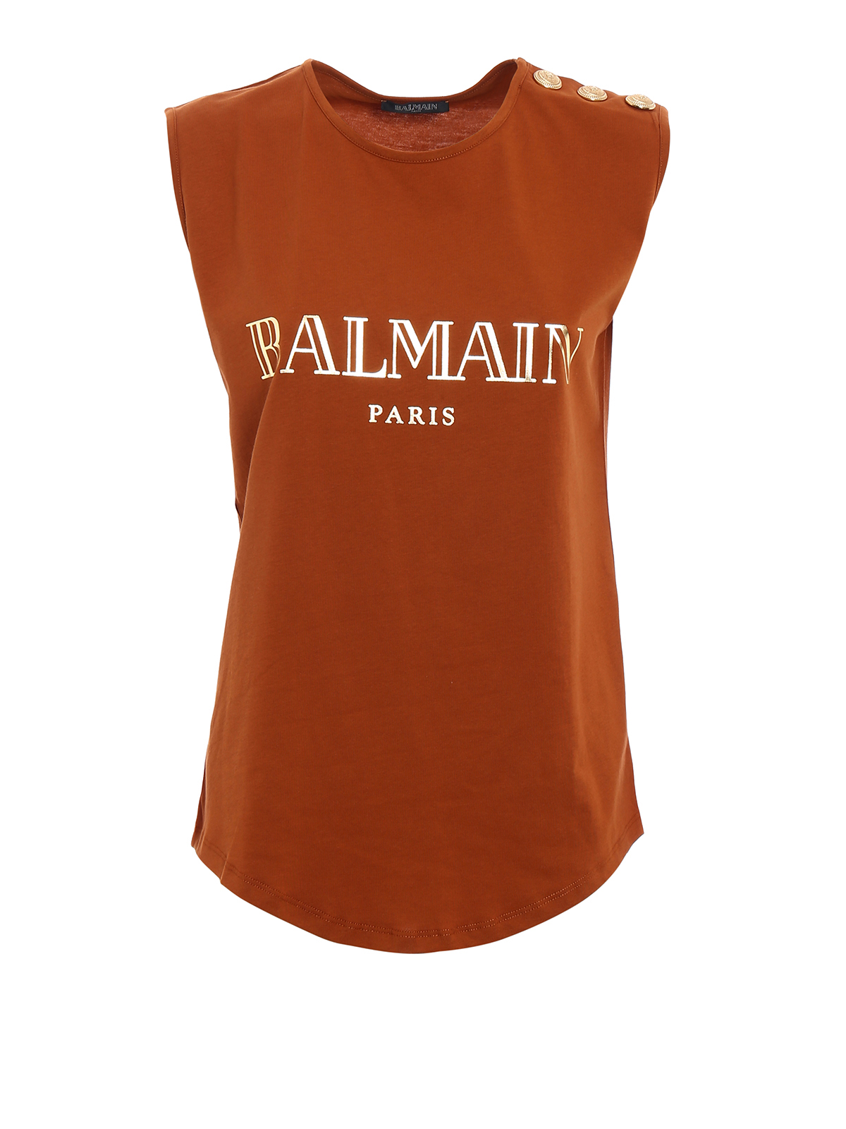c599634085a87f Balmain - Logo print and buttons tank top - Tops   Tank tops ...