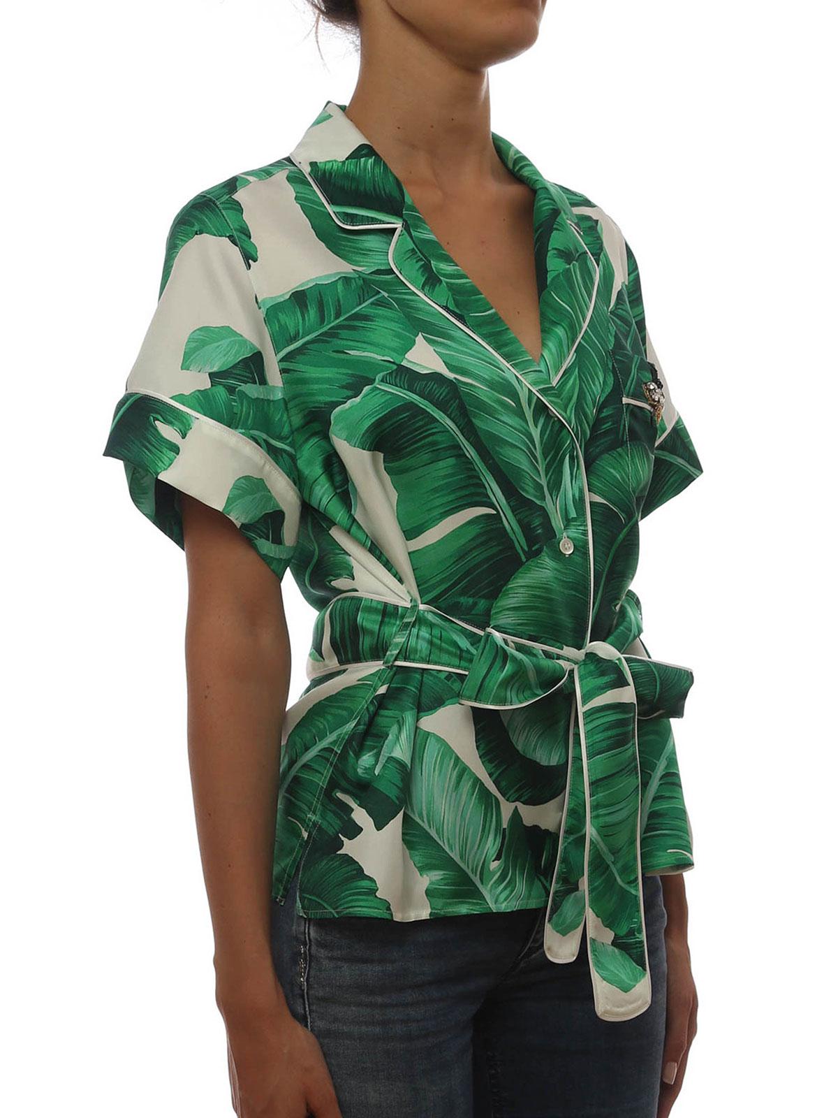 dacedc0b Dolce & Gabbana - Banana leaf print silk belted shirt - shirts ...