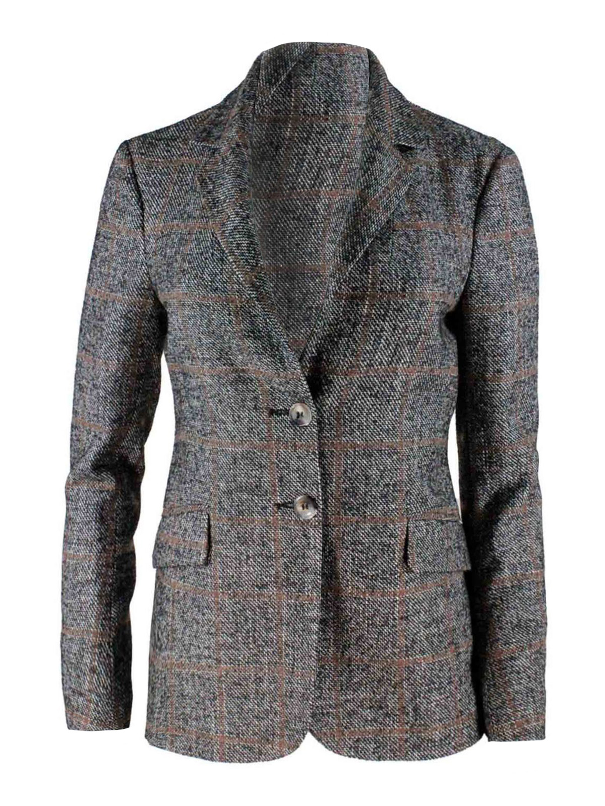 Barba CHECK SINGLE-BREASTED JACKET IN GREY