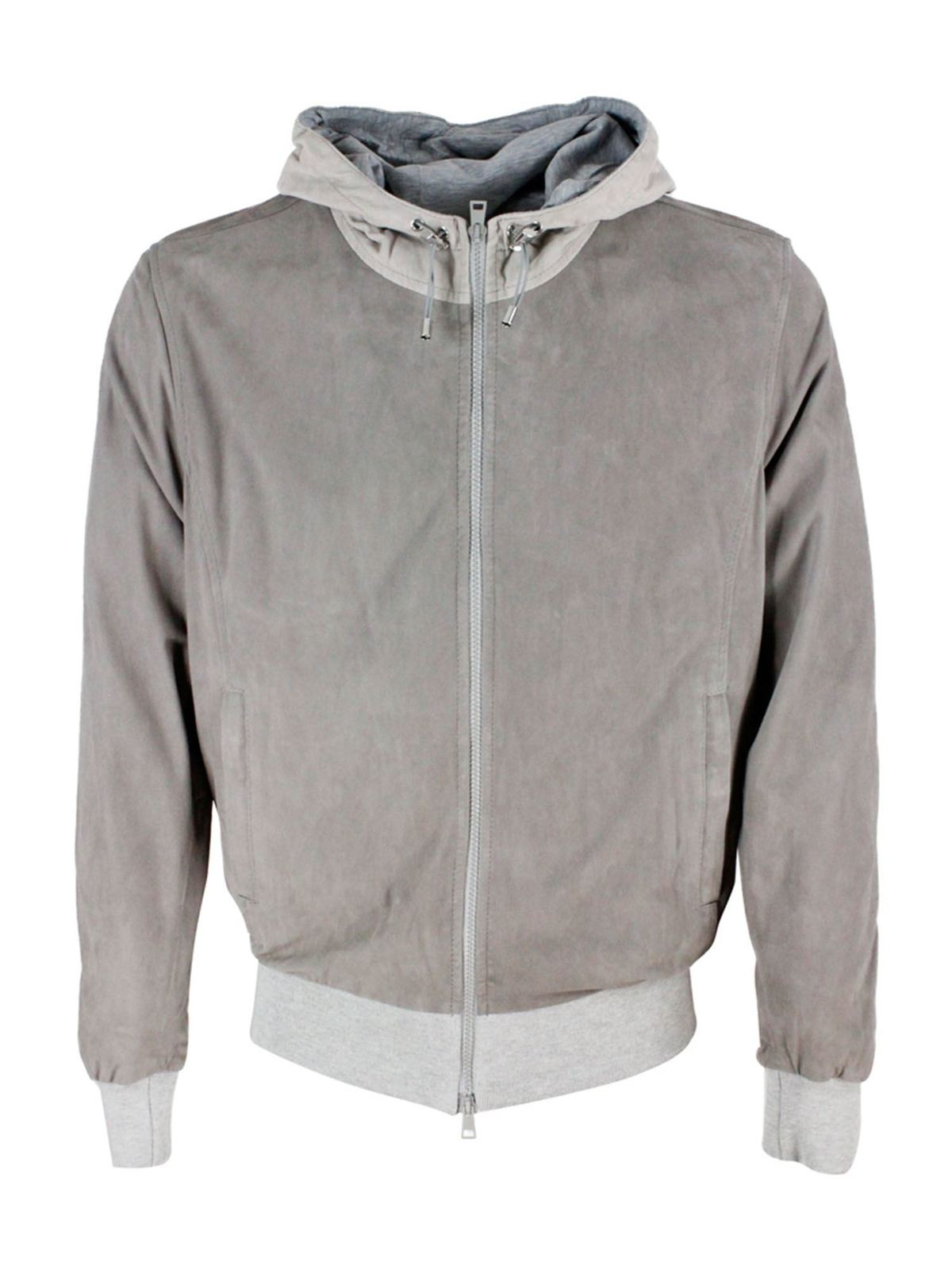 Barba Leathers SUEDE BOMBER HOODED JACKET IN GREY
