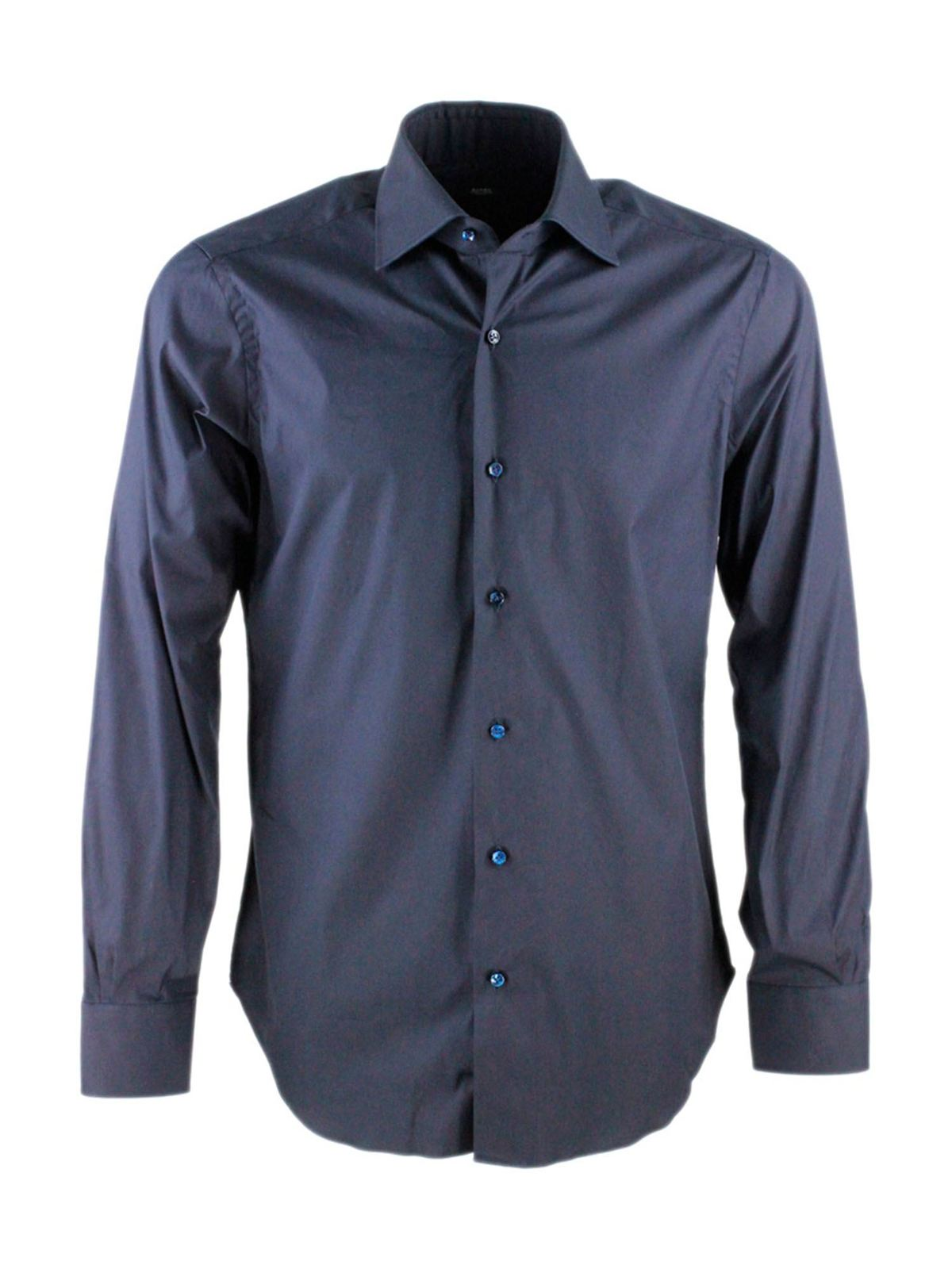 Barba Cottons TONE-ON-TONE BUTTON SHIRT IN BLUE