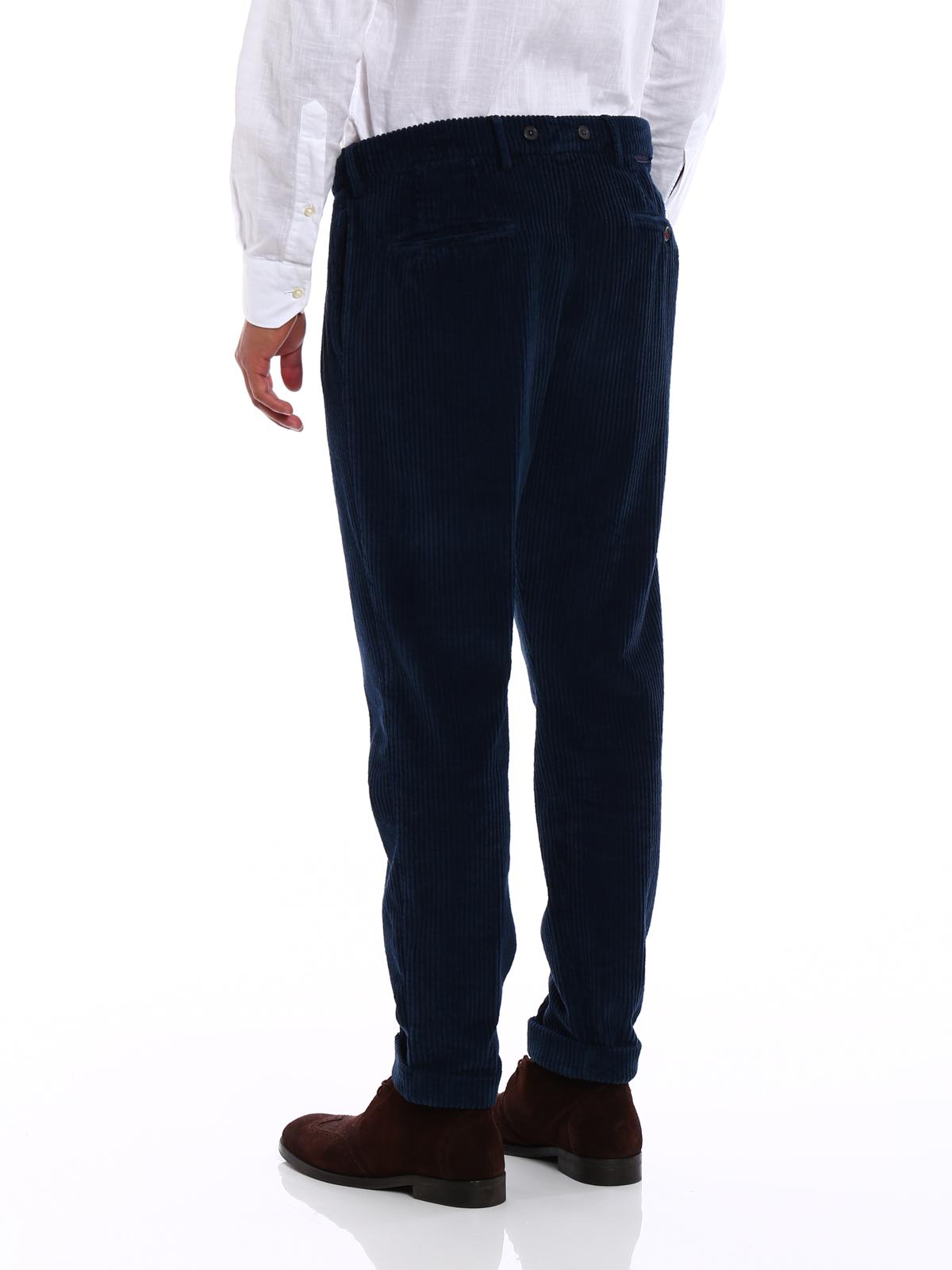 Barber Pantalon velours Berwich en bleu d coton wZqrXOZ