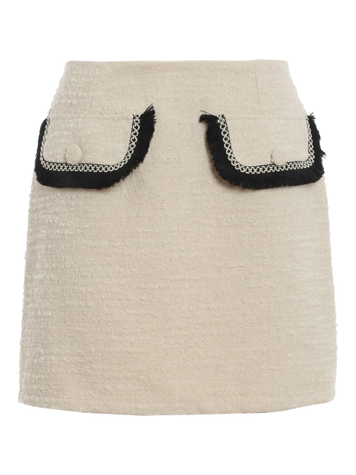 Be Blumarine Bouclé Wool Blend Mini Skirt In Cream Colour
