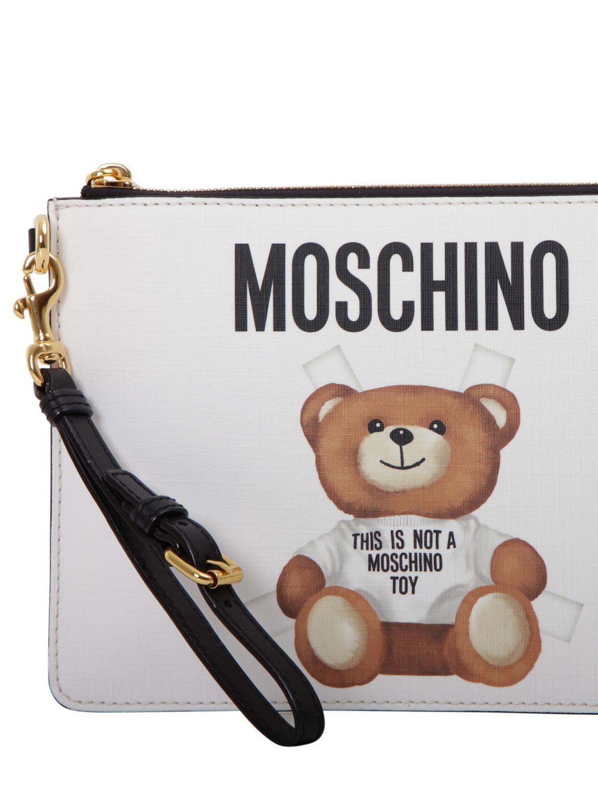Moschino Clutch con stampa orsetto e logo pochette