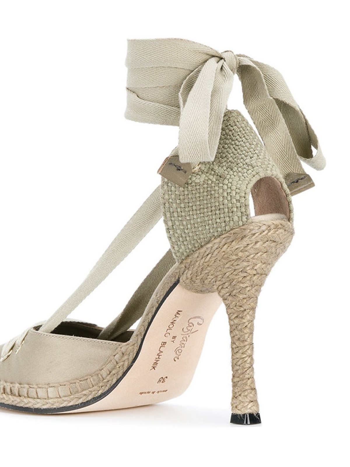Beige satin pumps by manolo blahnik by castaner court for Scarpe manolo blahnik shop on line