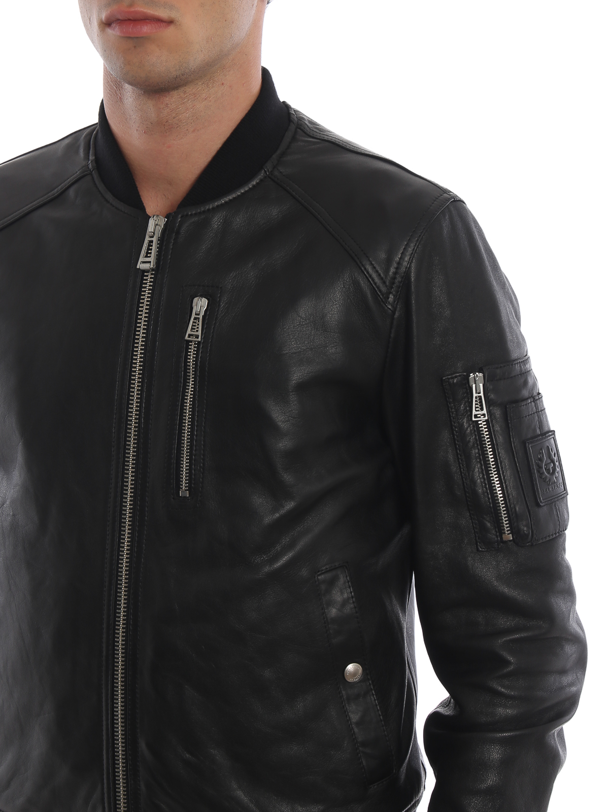 cheapest famous brand famous brand Belstaff - Clenshaw black soft nappa bomber jacket - leather ...