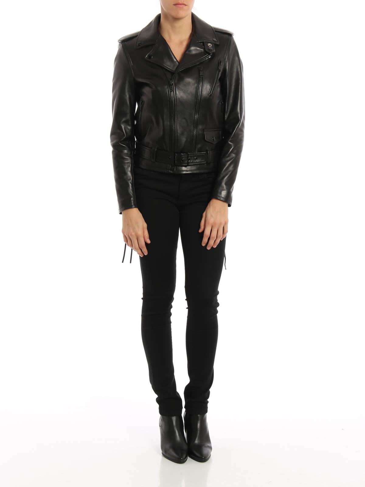 71cc9ef1138c Saint Laurent - Belted leather jacket - leather jacket - 442456 ...